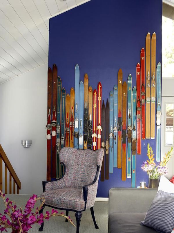 vintage skis - colorful wall art