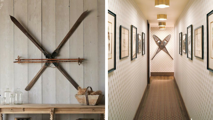 Antique Skis & snowshoes mounted in criss-cross fashion on wall