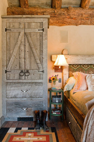rustic wood detailing in cabin bedroom