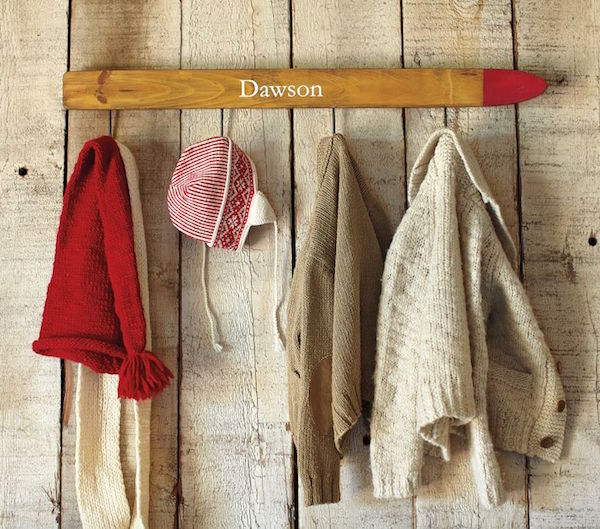 vintage skis - child's coat rack