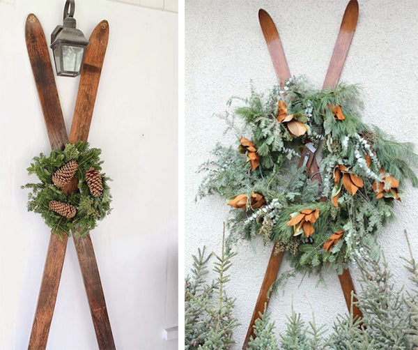 Antique skis with wreath