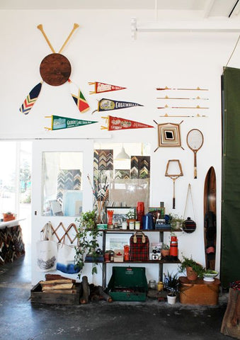 fun outdoor items hung on walls decor