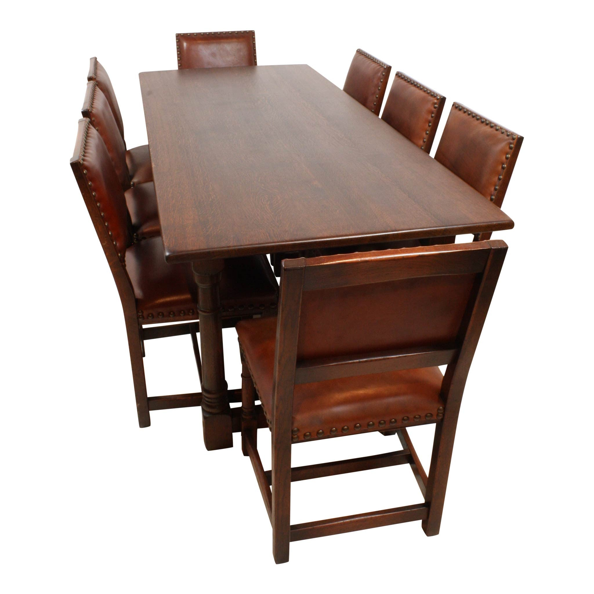 Remarkable Large Oak Dining Room Table W 8 Chairs Machost Co Dining Chair Design Ideas Machostcouk