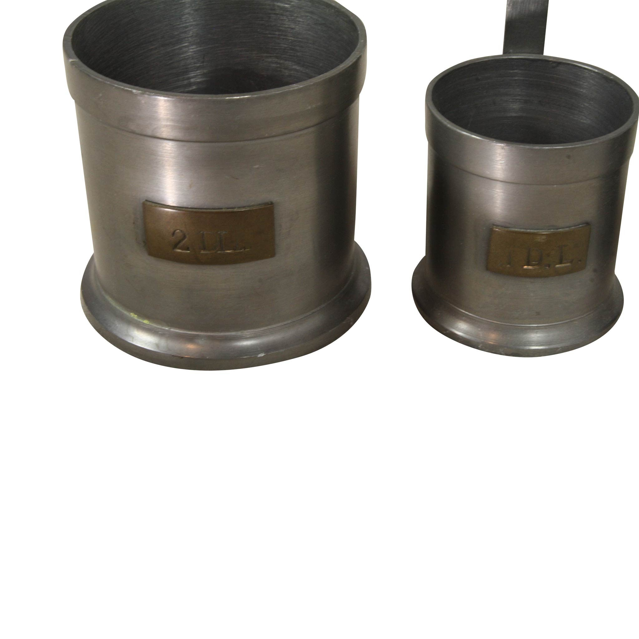 Pewter measuring cups set of four