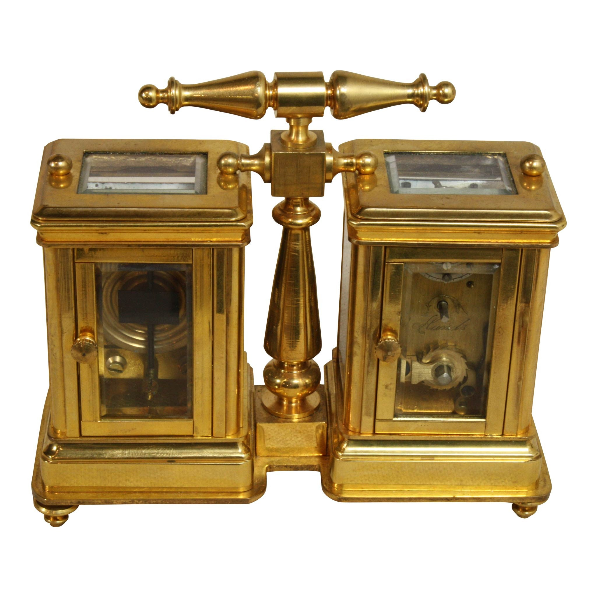 Brass and Glass Clock and Barometer