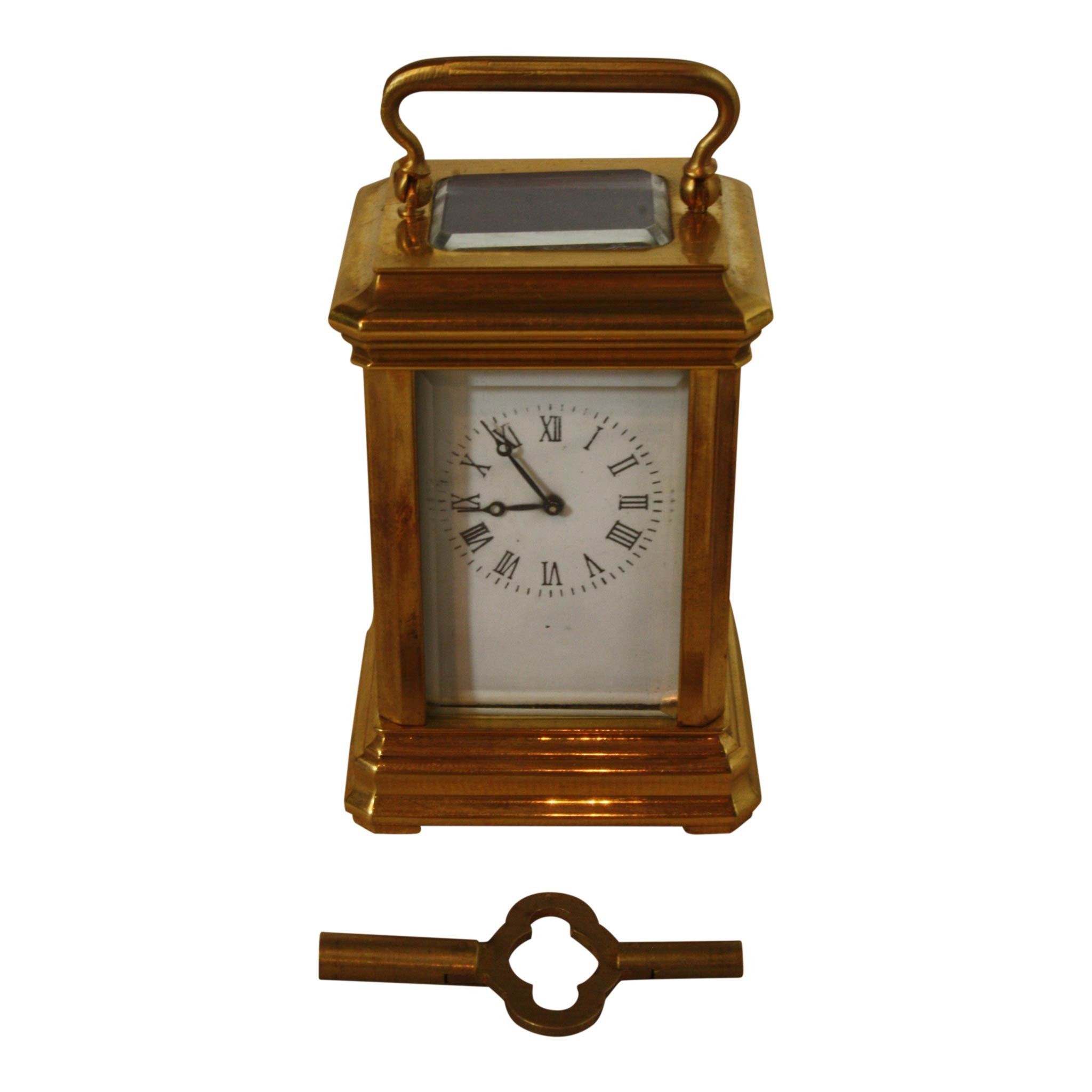 Square Brass and Glass Clock