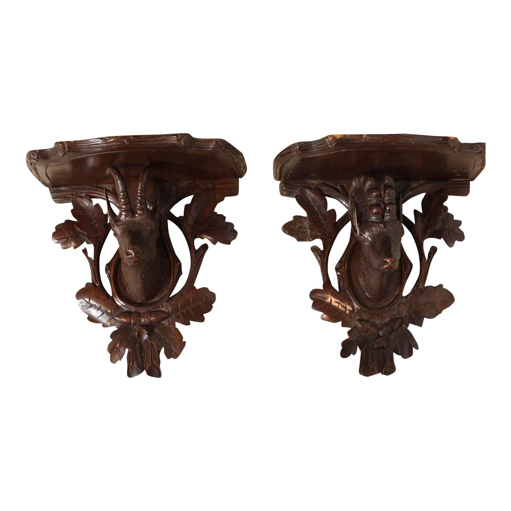 Carved Goat Shelves set of 2