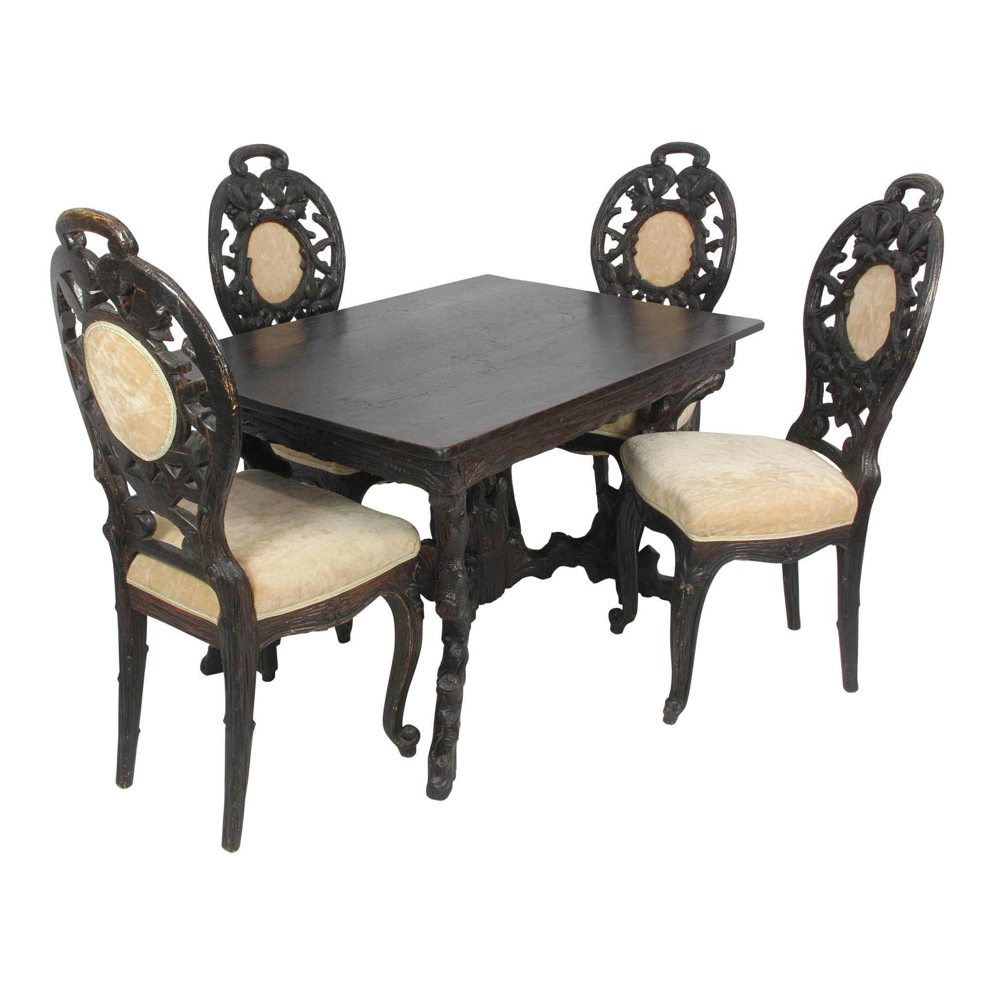 Black Forest Table and Chairs (1stdibs)