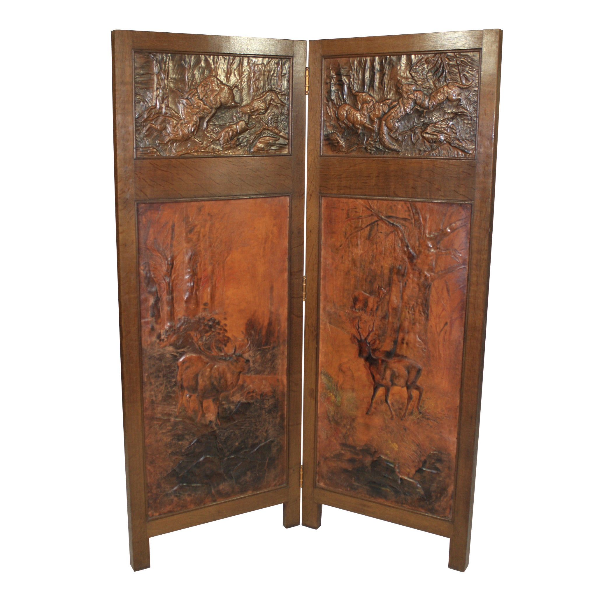 ski-country-antiques - Pressed Leather and Copper Screen