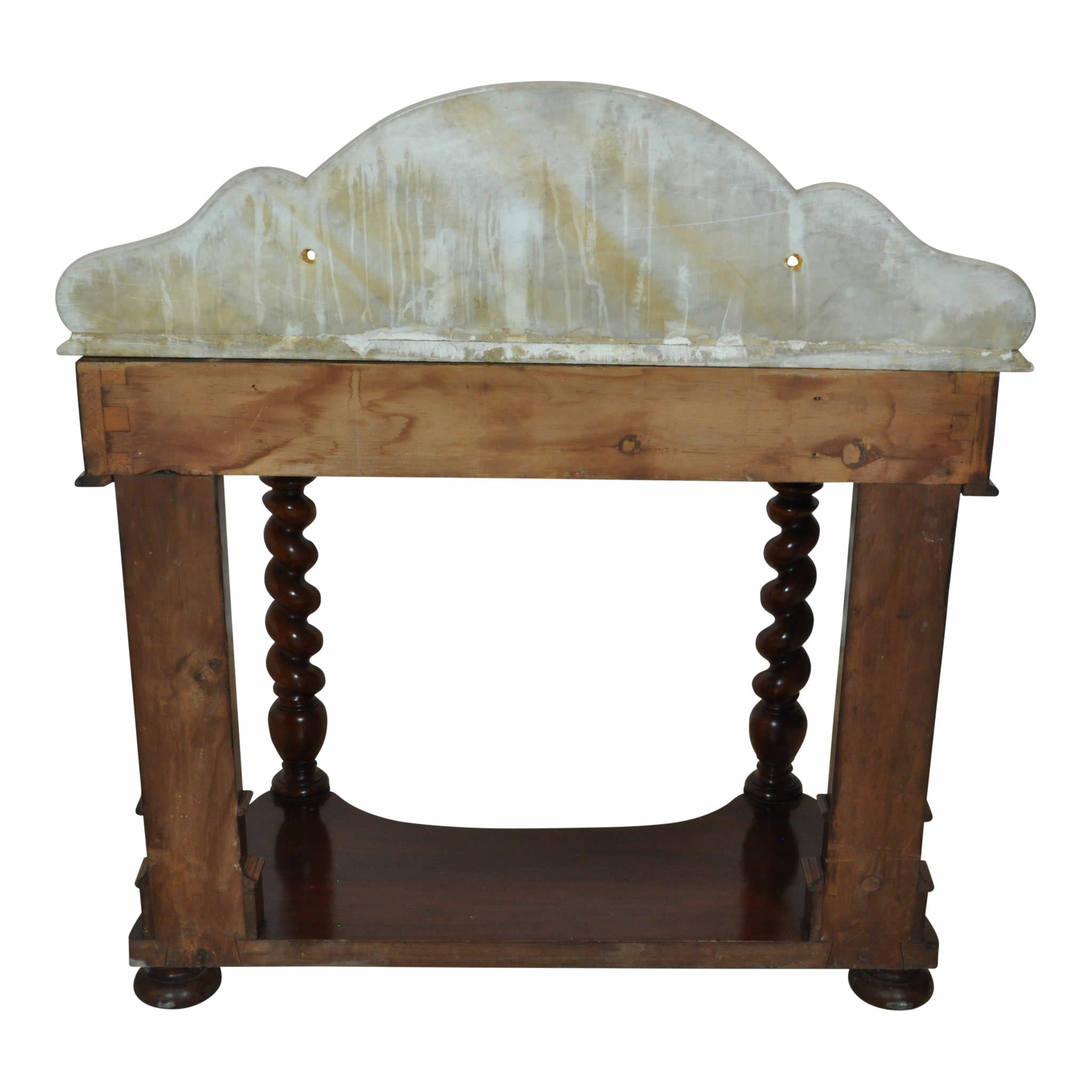 Vanity with Barley Twist Legs and Marble Top