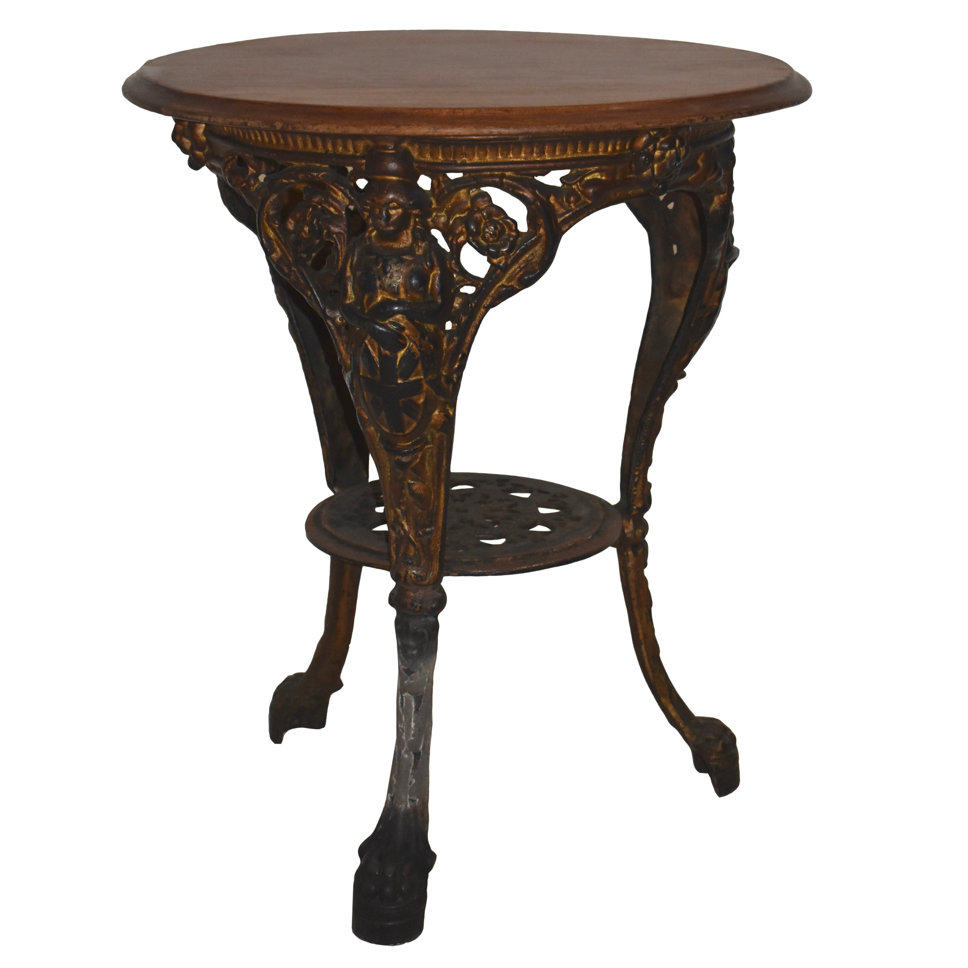 English Side Table with Iron Base