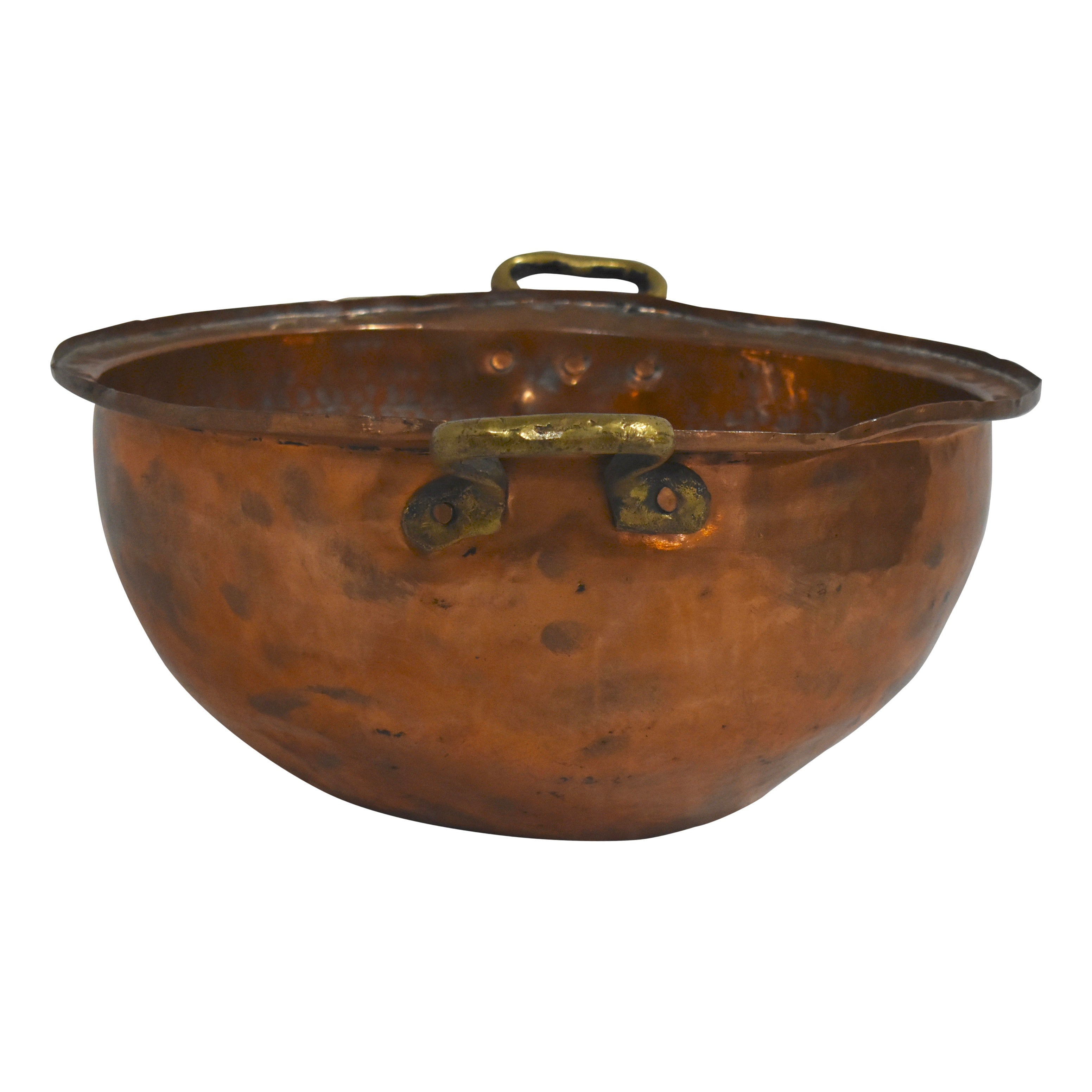 Copper Bowl with Brass Handles