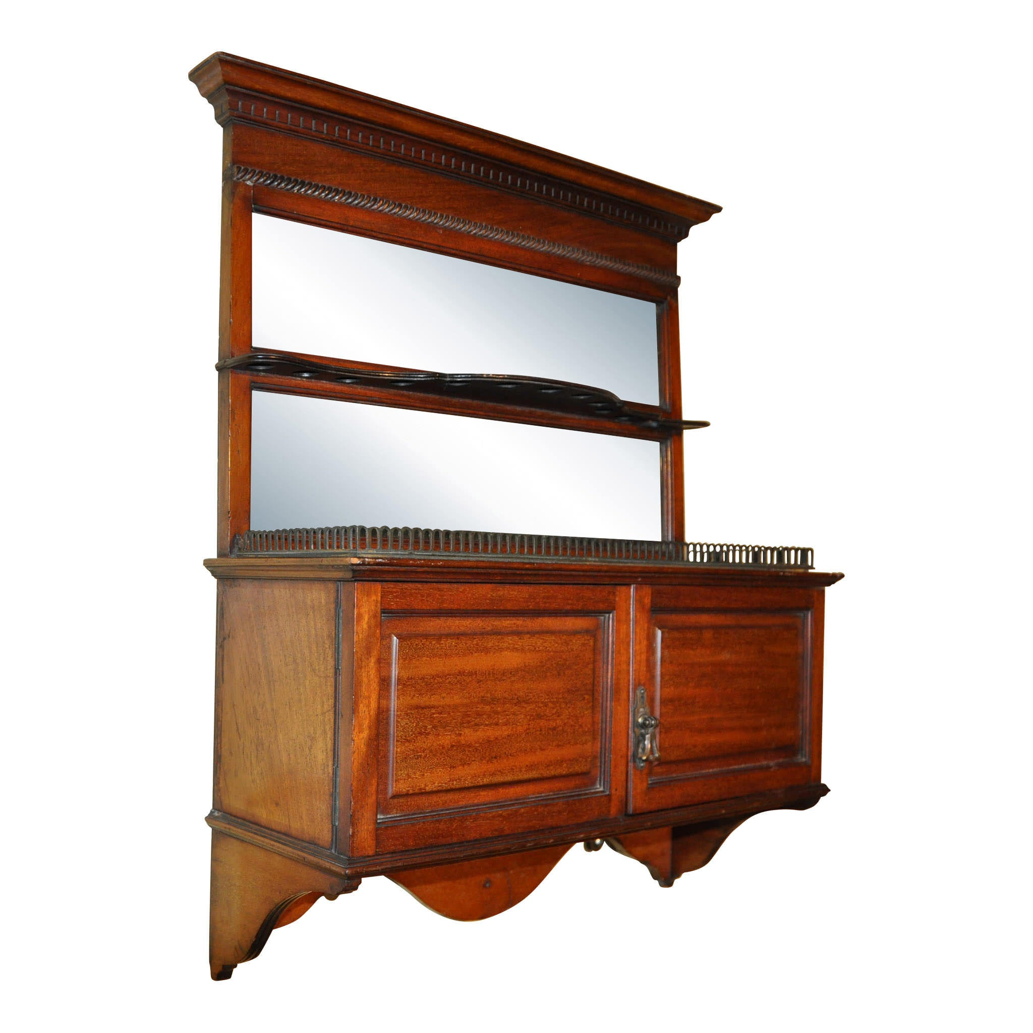 Tobacco Wall Cabinet with Pipe Rack and Mirrors