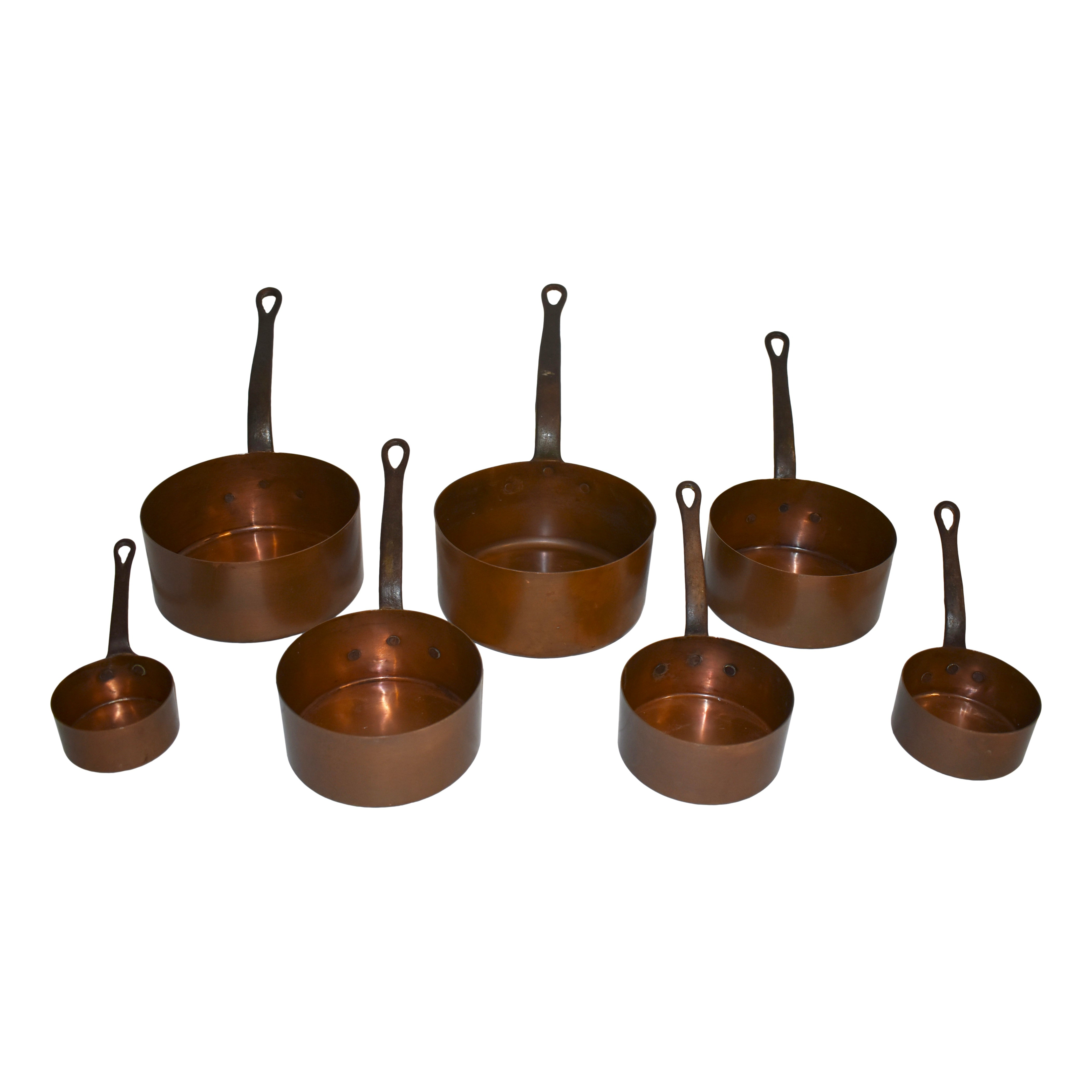 Copper Saucepans with Iron Handles, Set of Seven
