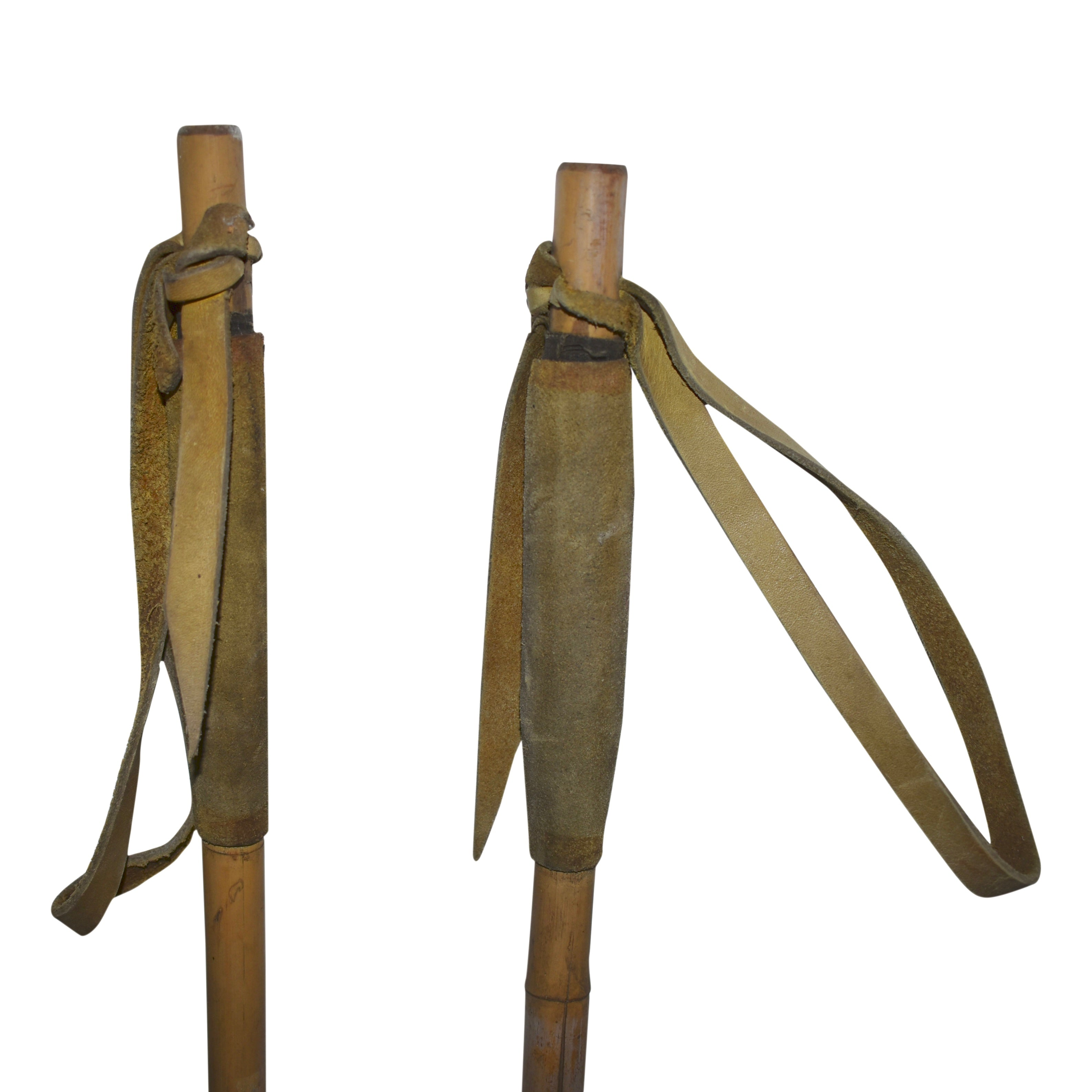 Long Bamboo Ski Poles with Leather Grips