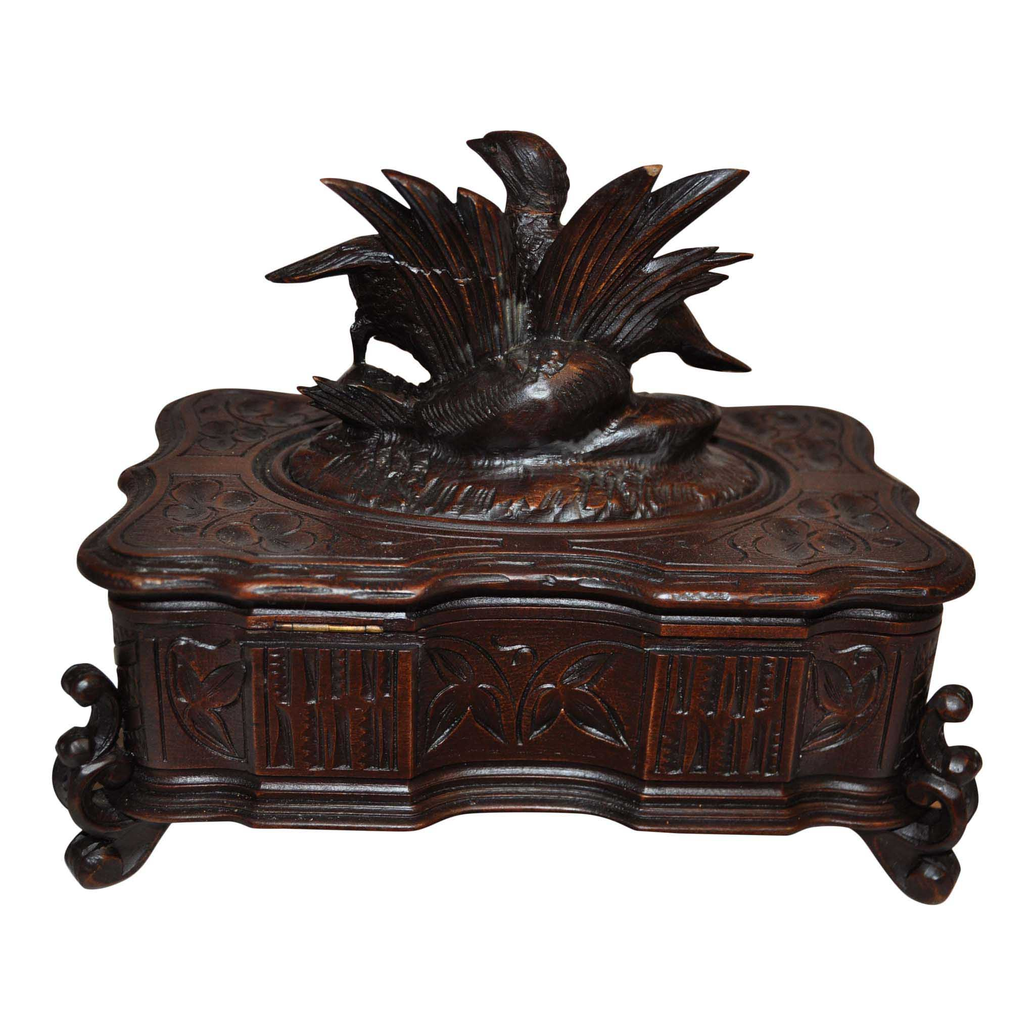 Carved Jewelry Box with Quail