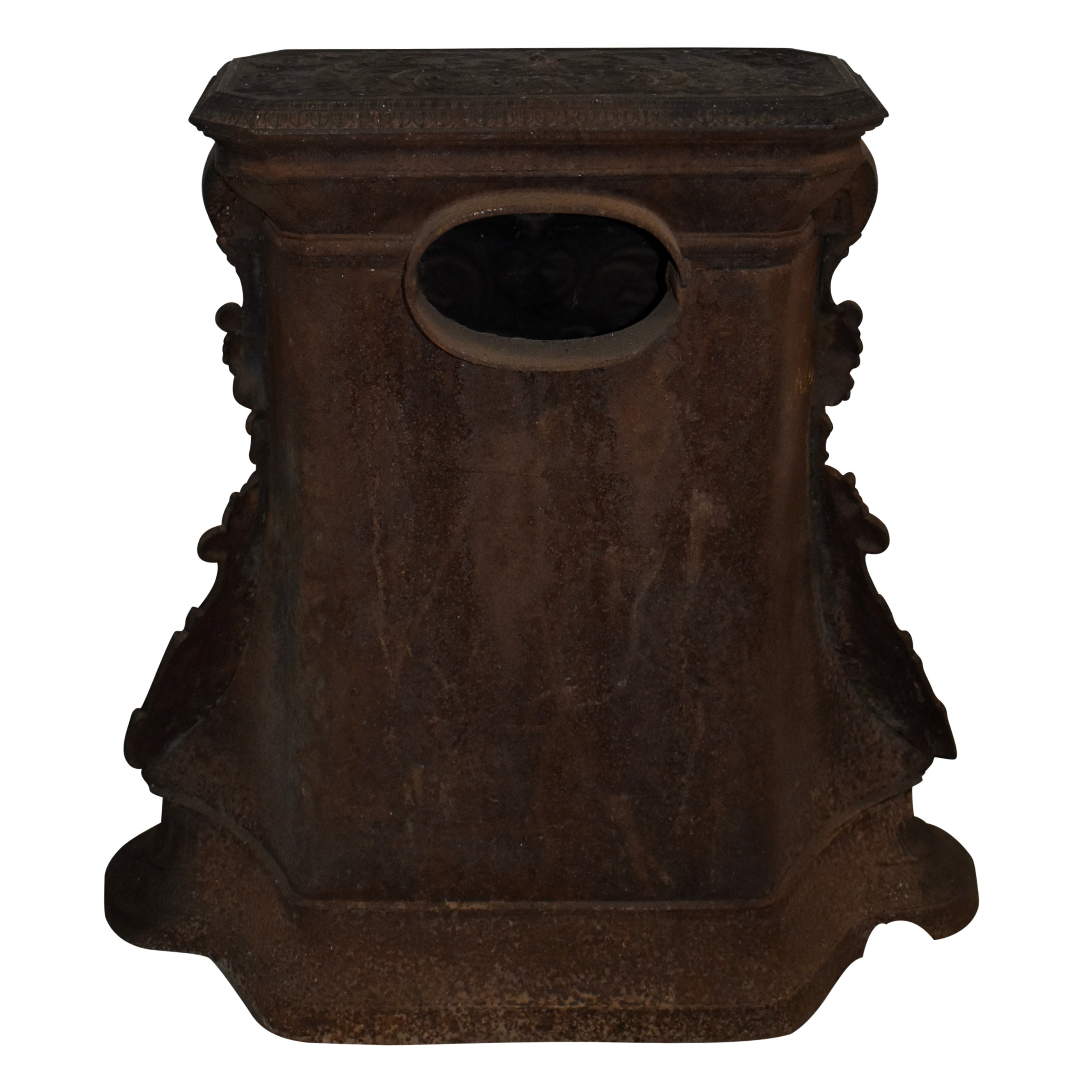 Cast Iron Stove with Brass Andirons