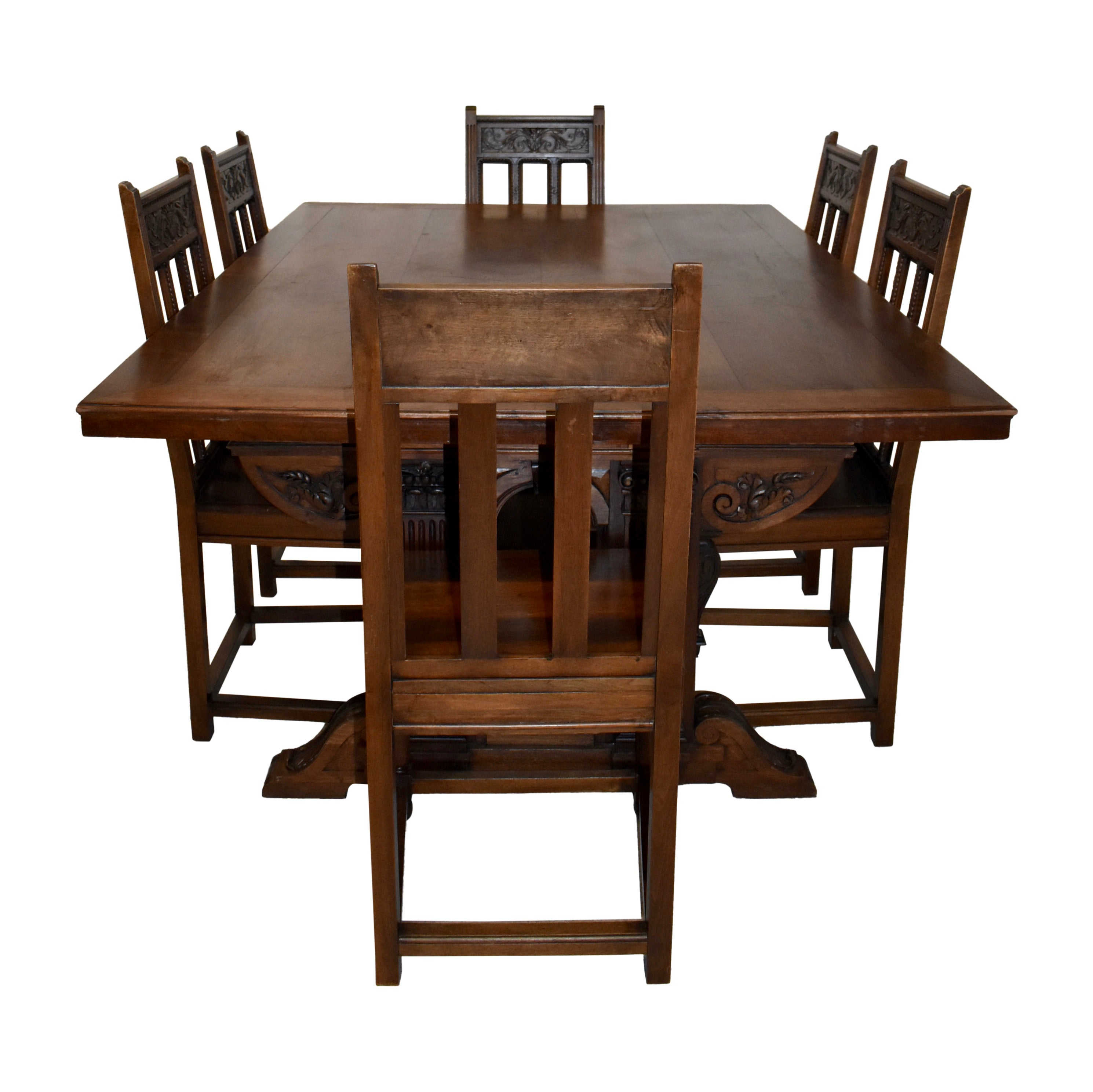 Walnut Dining Table and Six Chairs