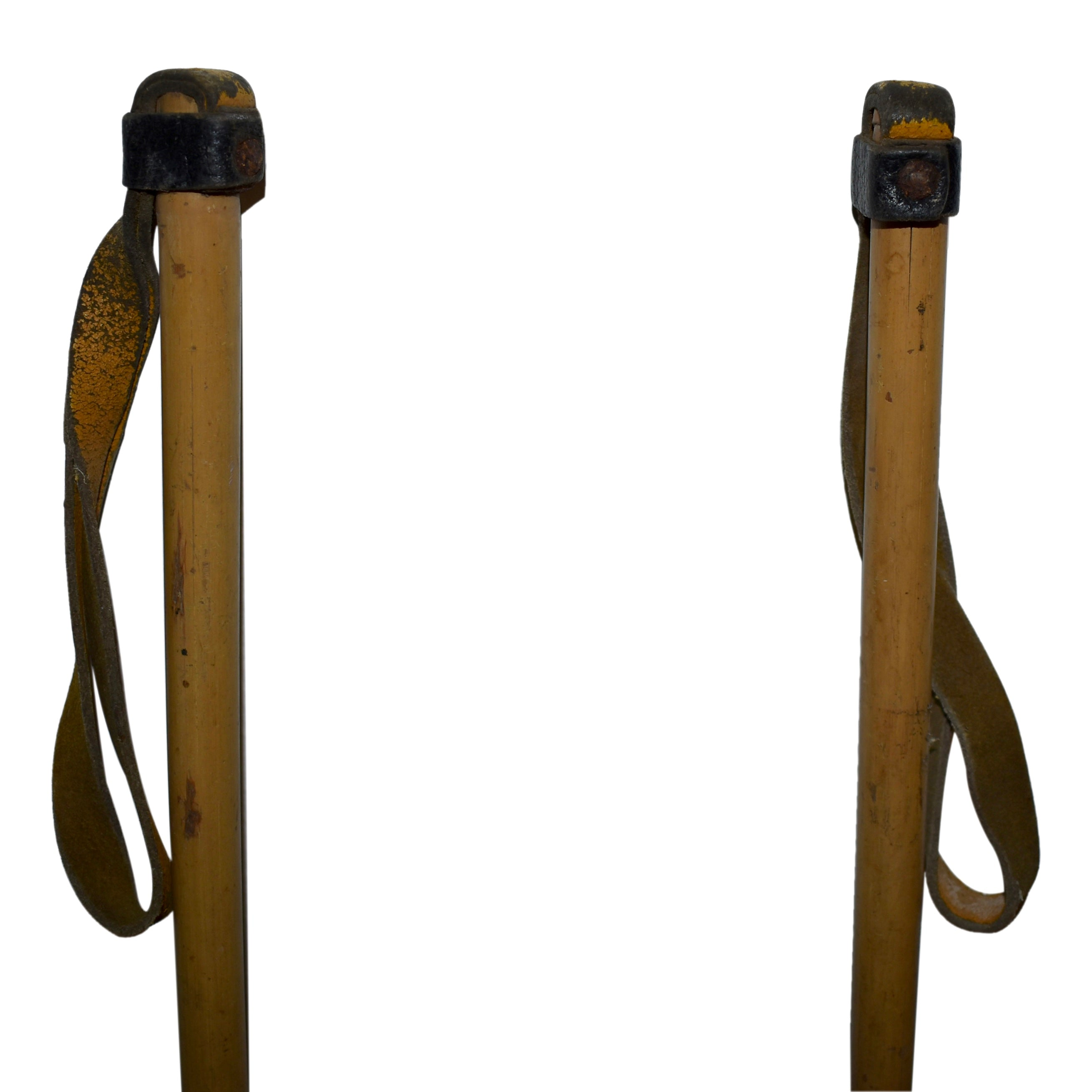 Bamboo Ski Poles with Leather Straps