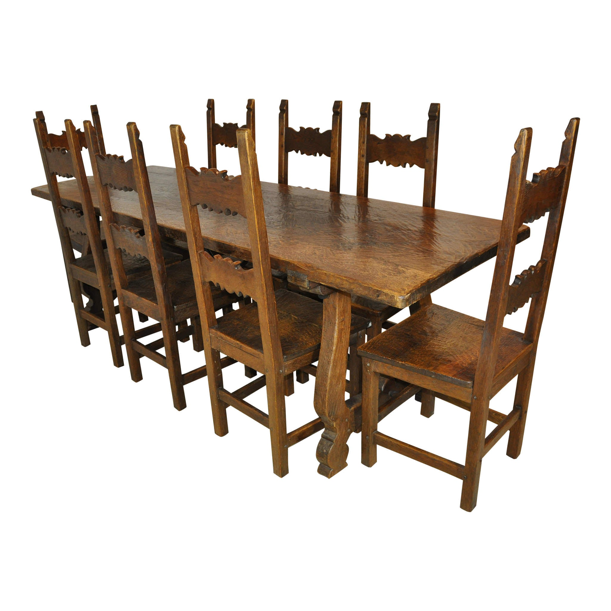 Trestle Dining Table and Eight Chairs