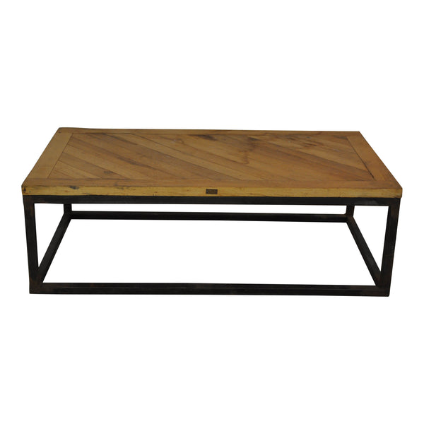 Industrial Coffee Table with Parquet Top
