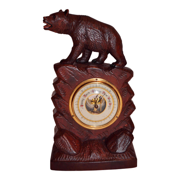 Barometer with Carved Bear