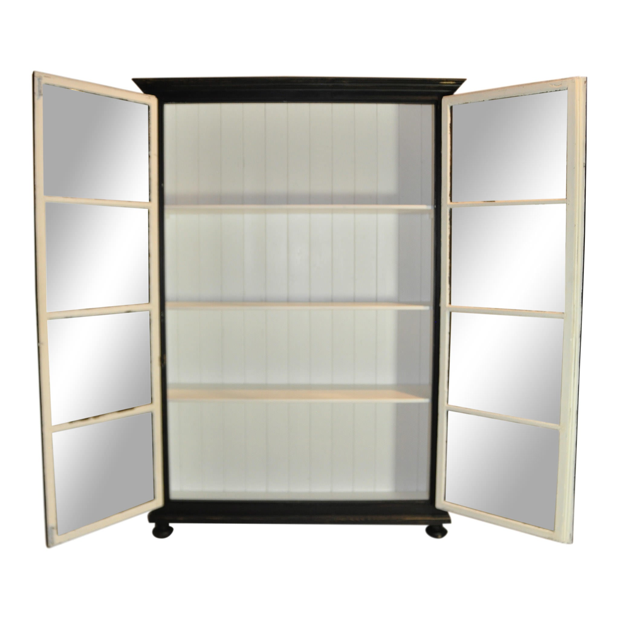 Black and White Cabinet with Glass Doors