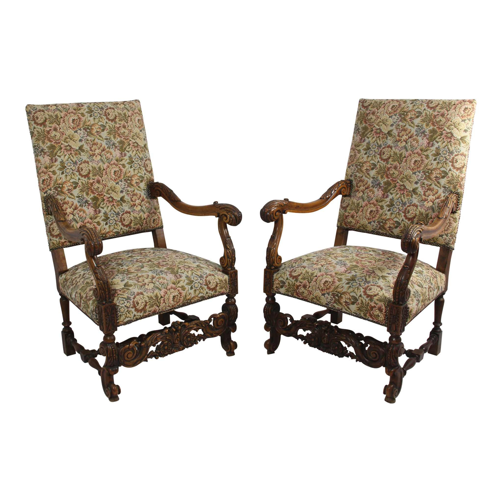 French Tapestry Chairs   Set Of 2