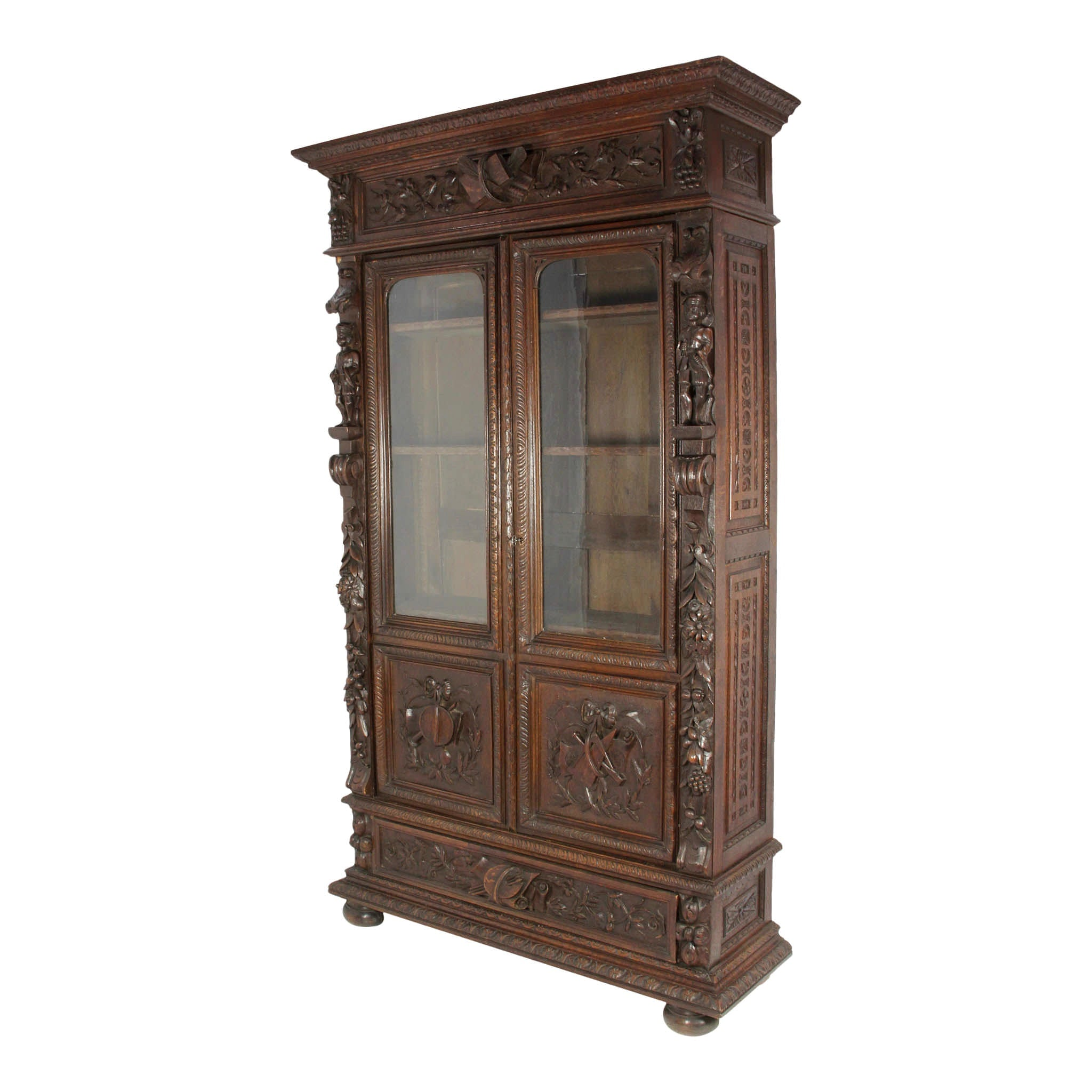 French Carved Oak Hunt Bookcase with Glass Doors