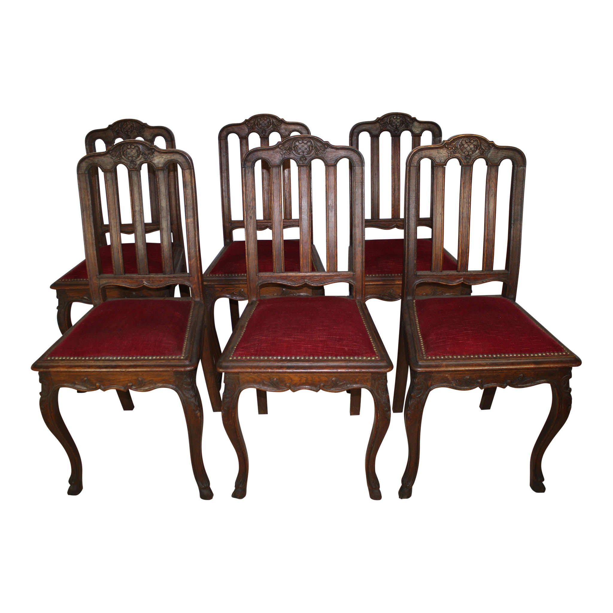 Louis XV French Carved Oak Dining Table and Six Chairs