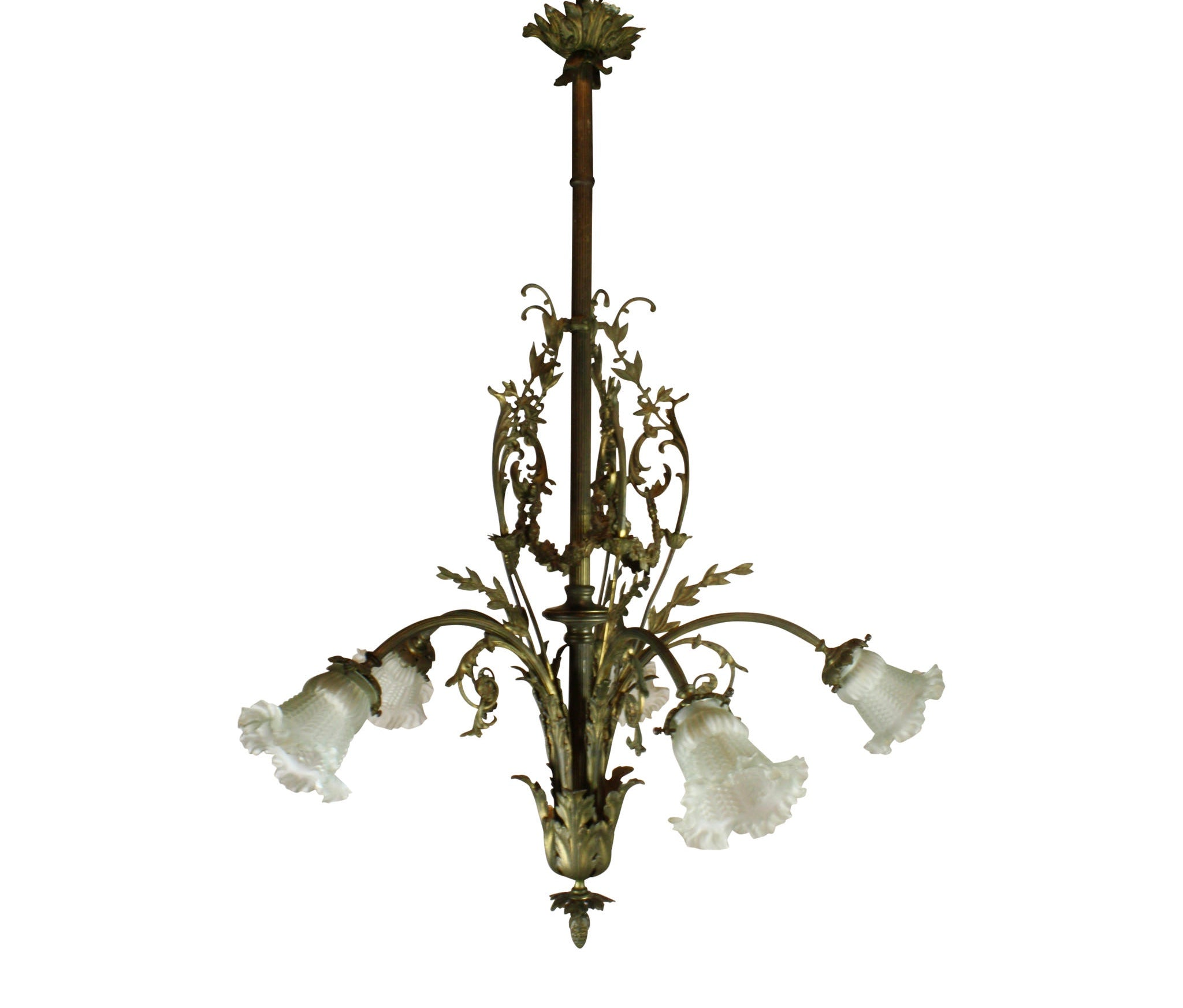 Louis XV Iron Chandelier with Glass Shades