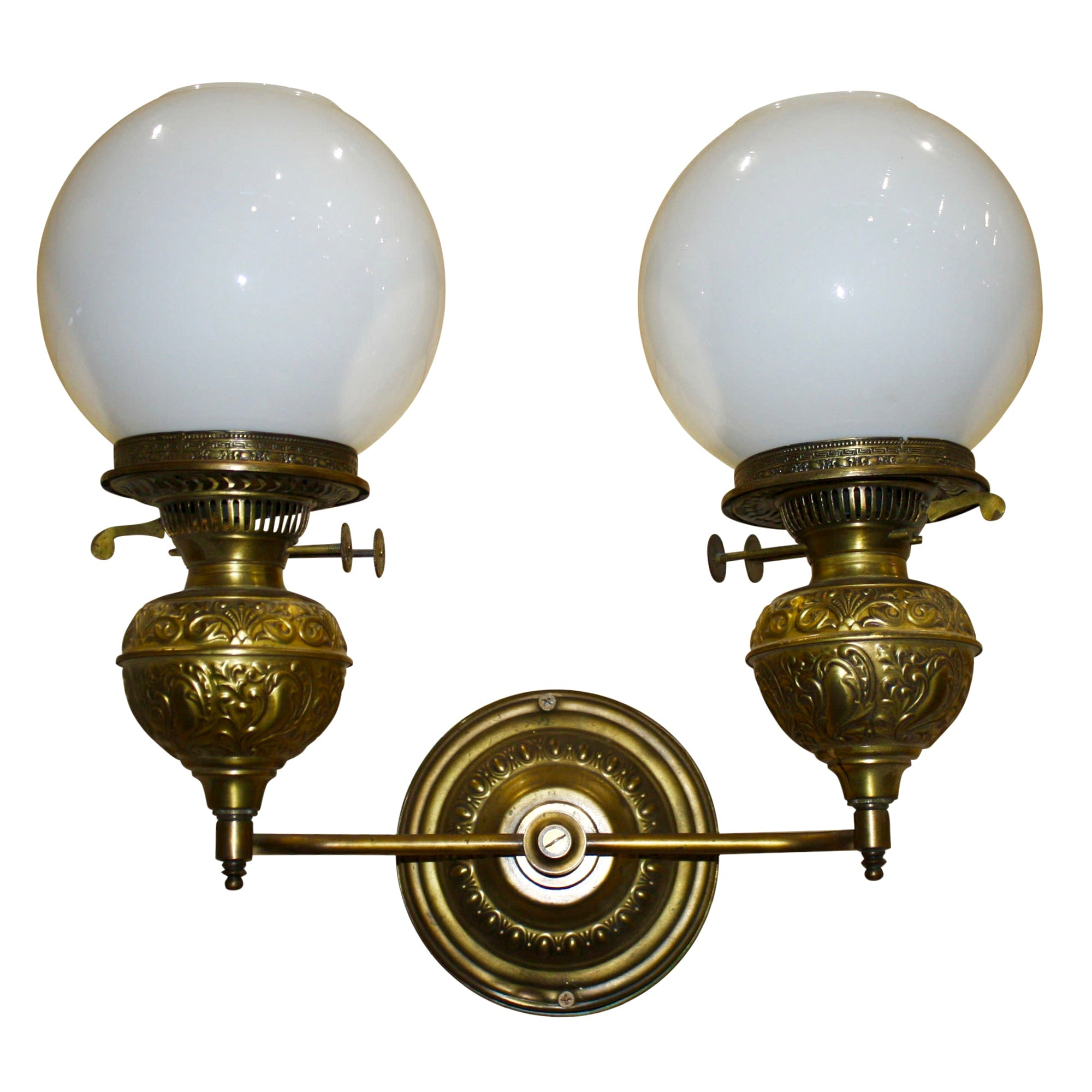 English Brass Double Wall Sconce