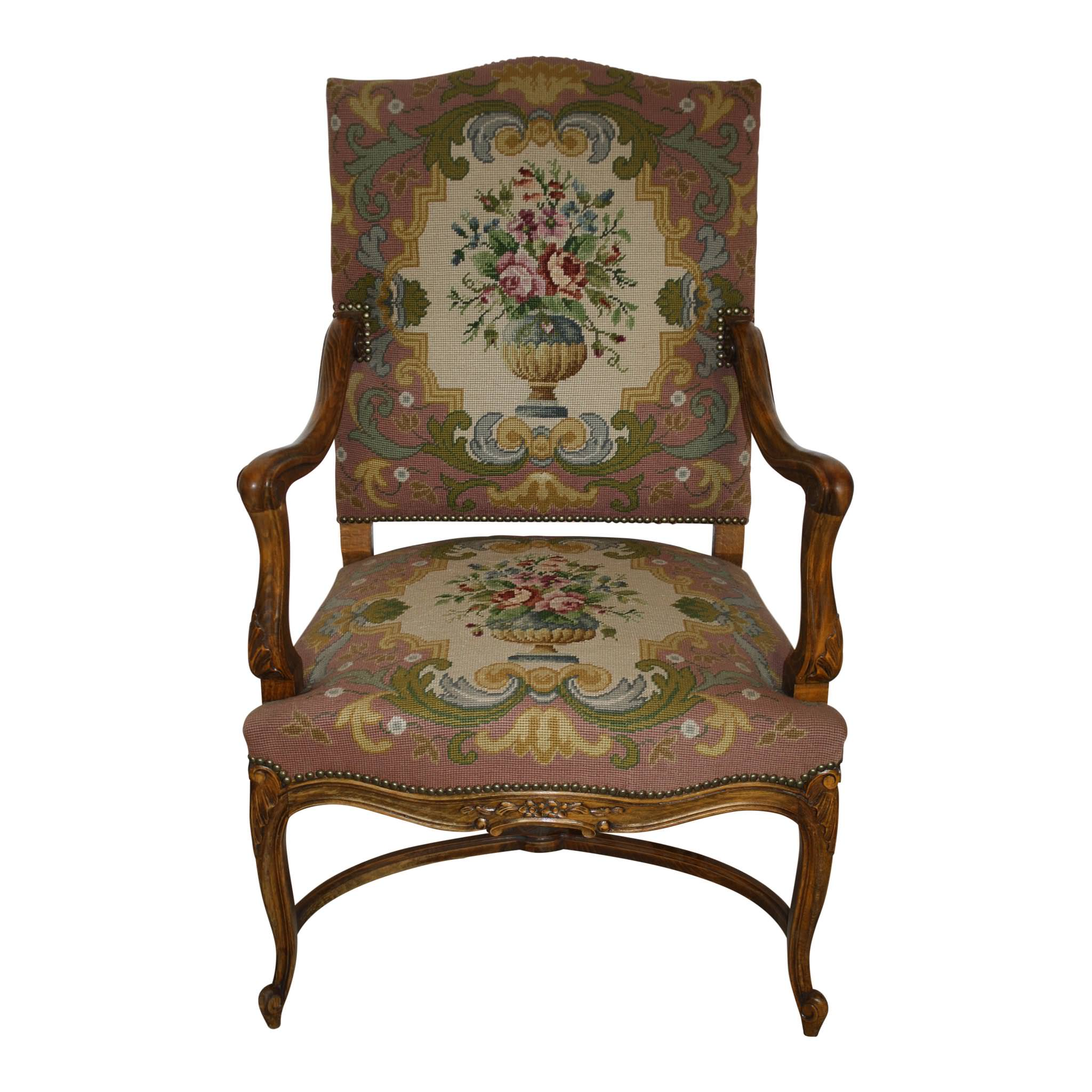 Louis XV French Walnut Fauteuil Needlepoint Armchair