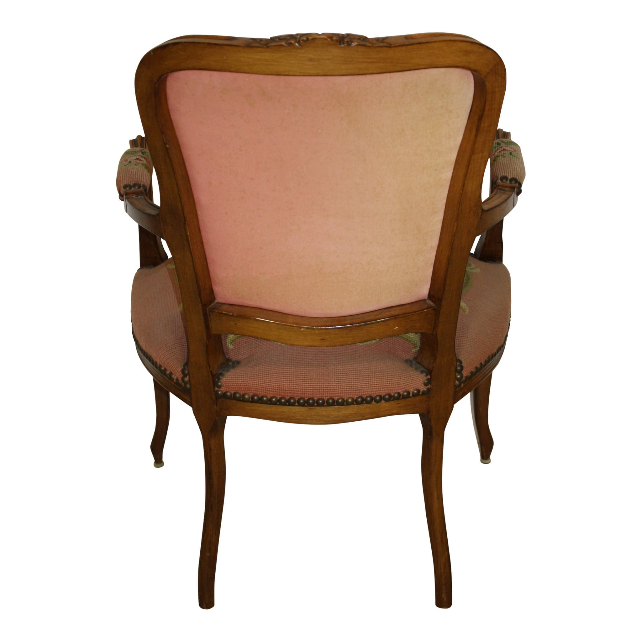 French Louis XV Walnut Fauteuil Needlepoint Armchair