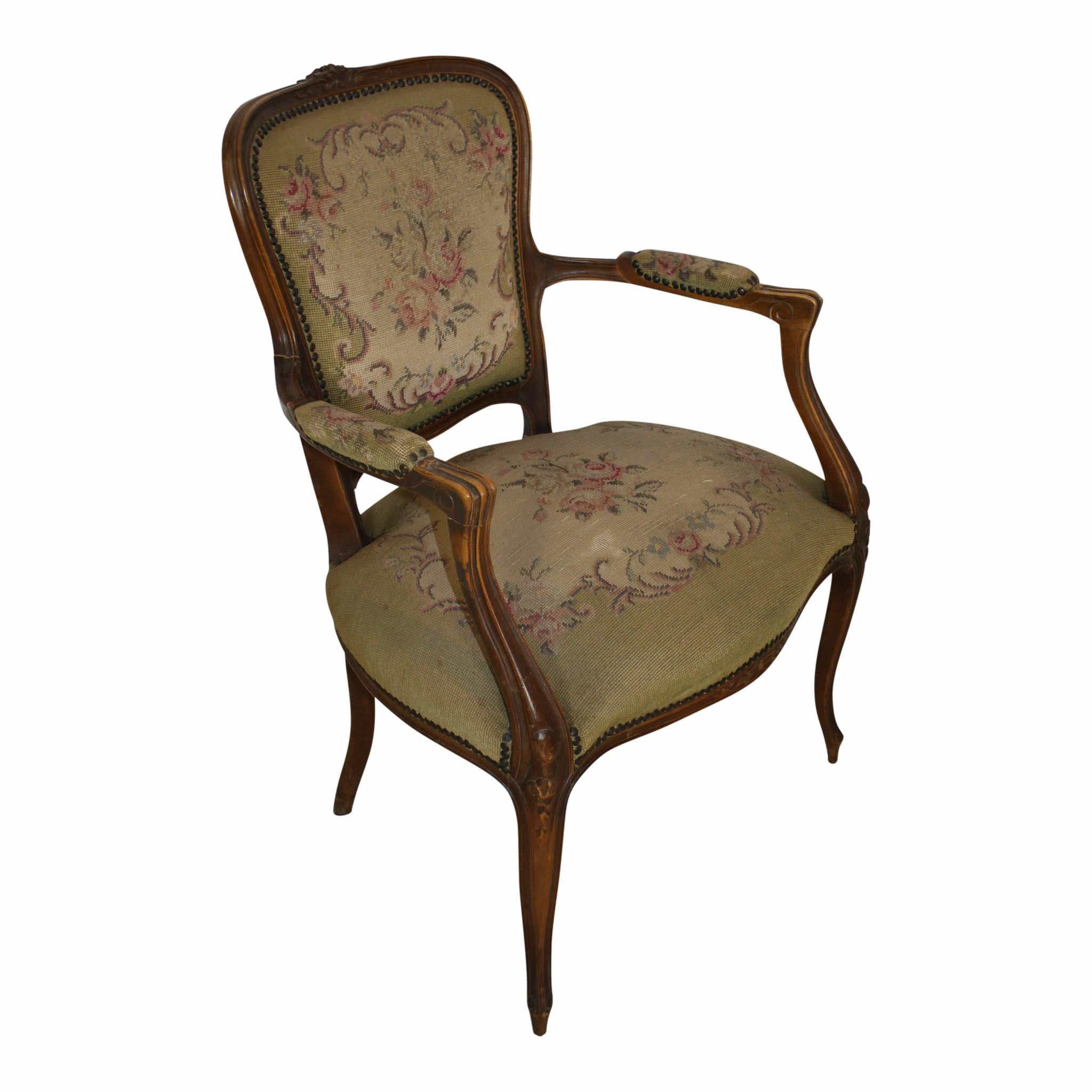 French Walnut Fauteuil Needlepoint Armchair