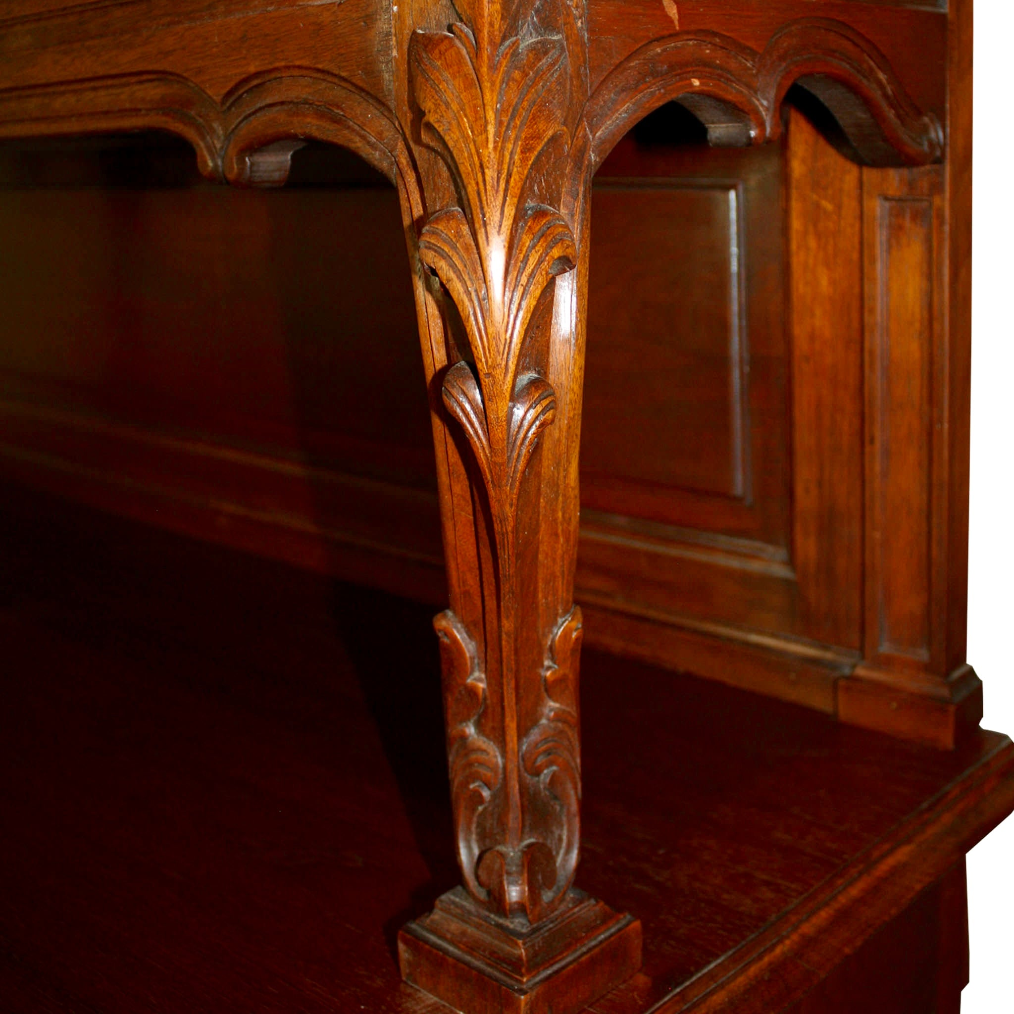 French Carved Walnut Louis XV China Buffet