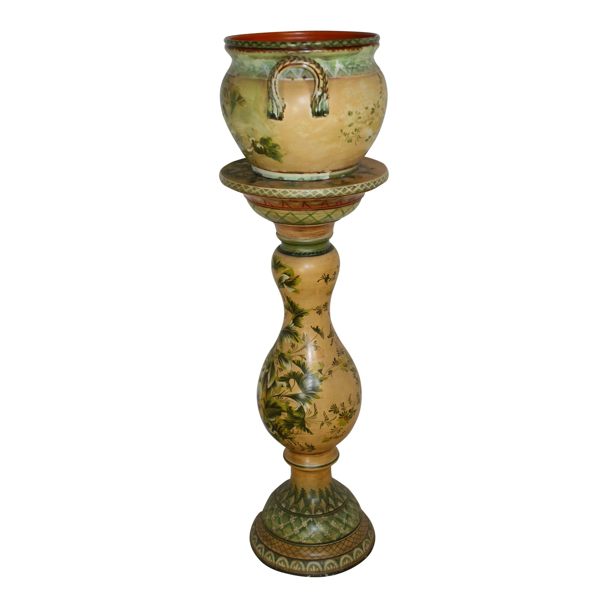 French Painted Terra-cotta Plant Stand and Pot