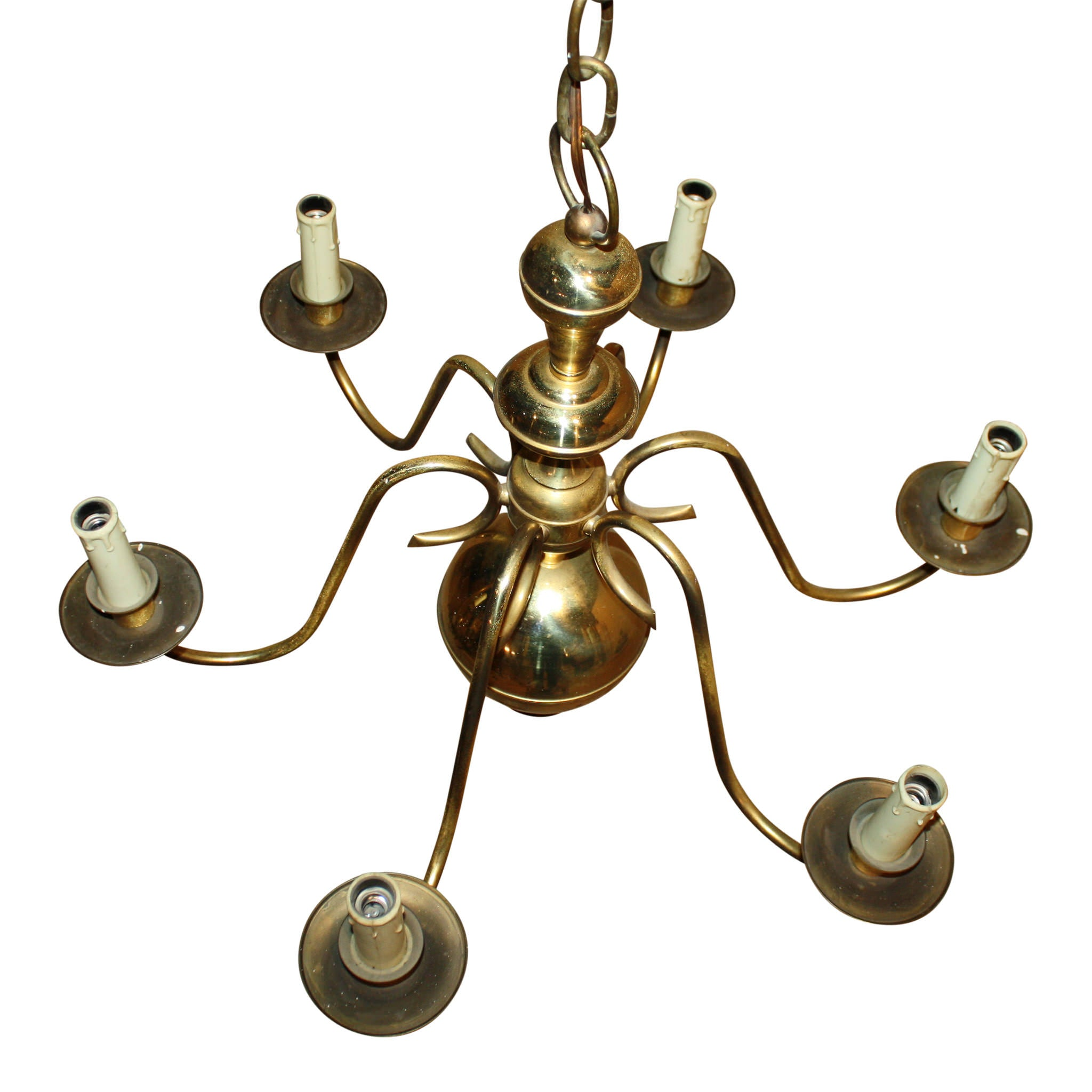 Dutch Six Arm Brass Chandelier