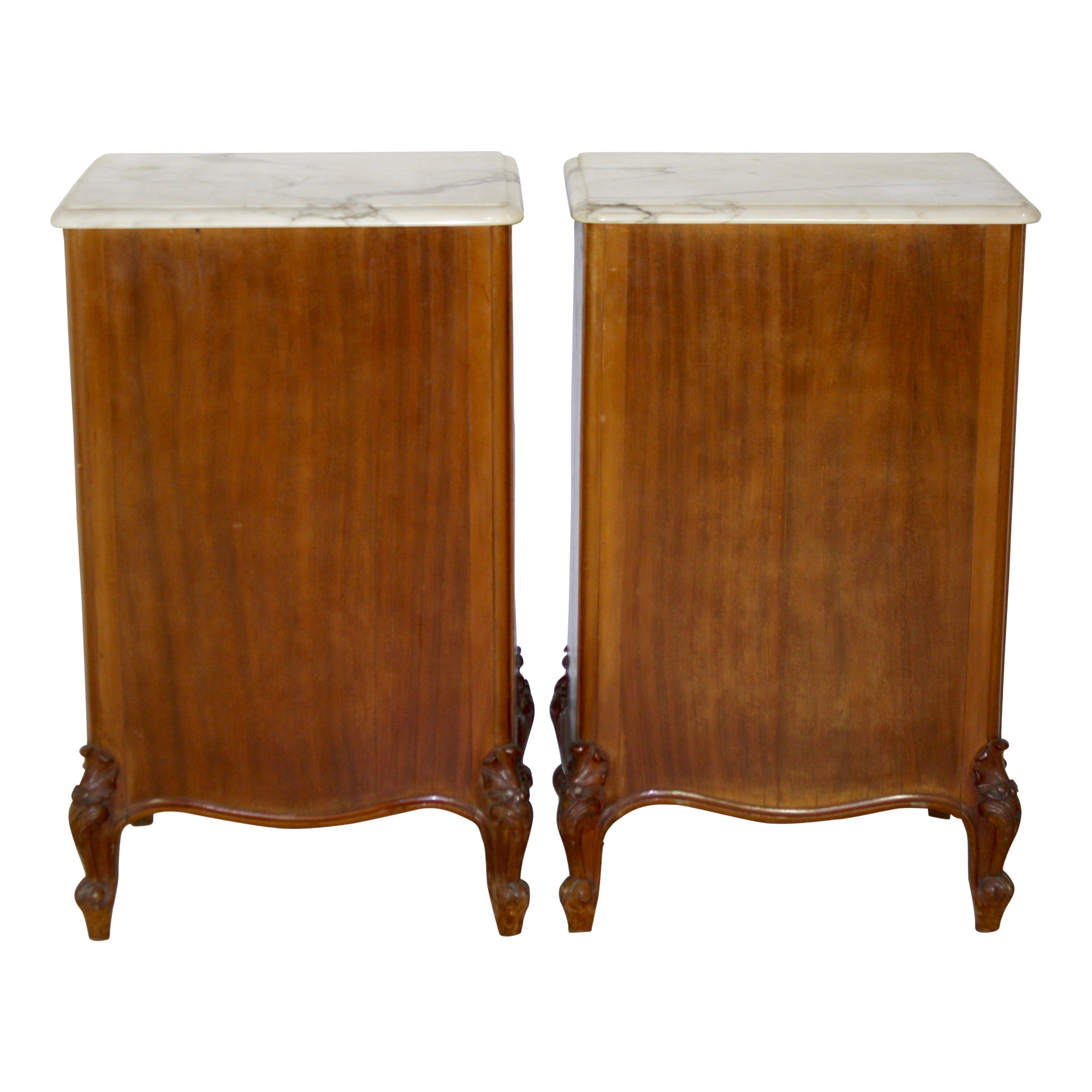 Louis XV Walnut Nightstands with Marble Tops, Set of Two