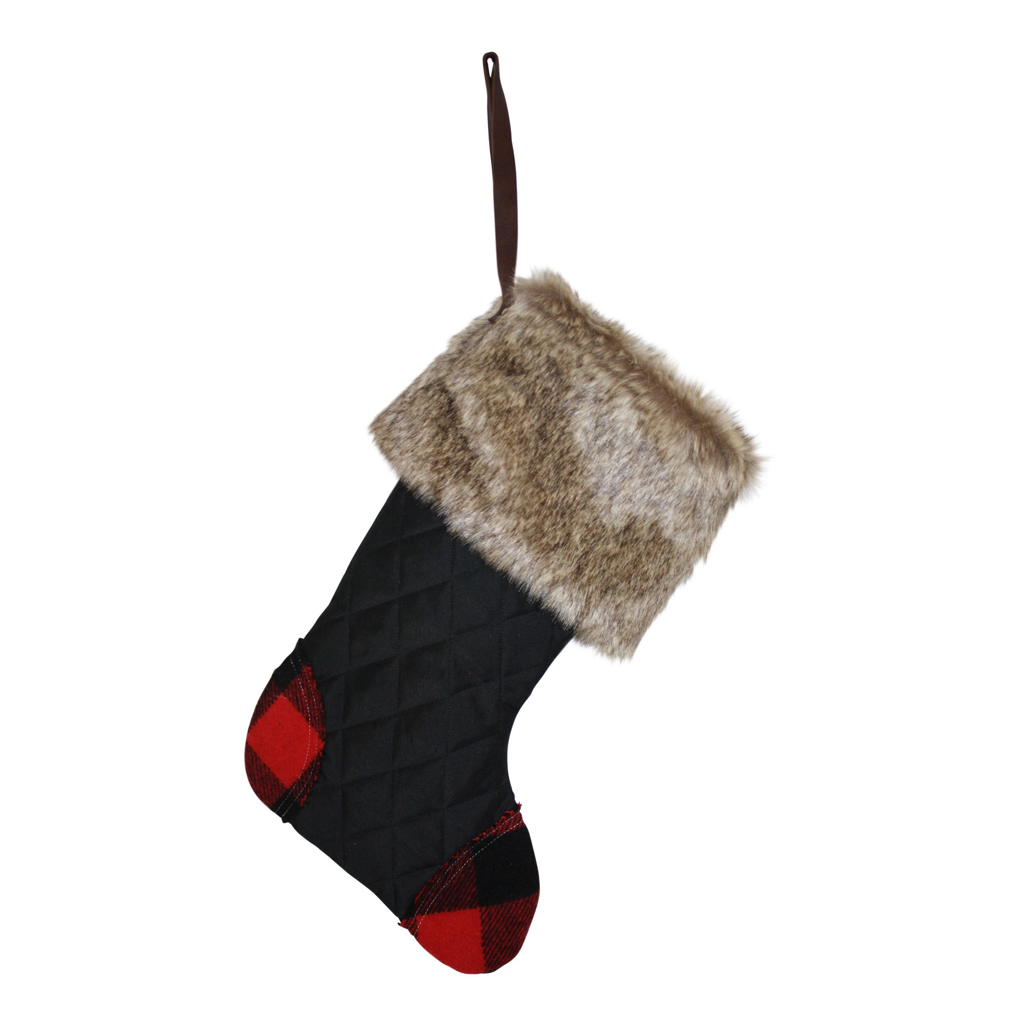 Black Quilted Stocking with Faux Fur Cuff