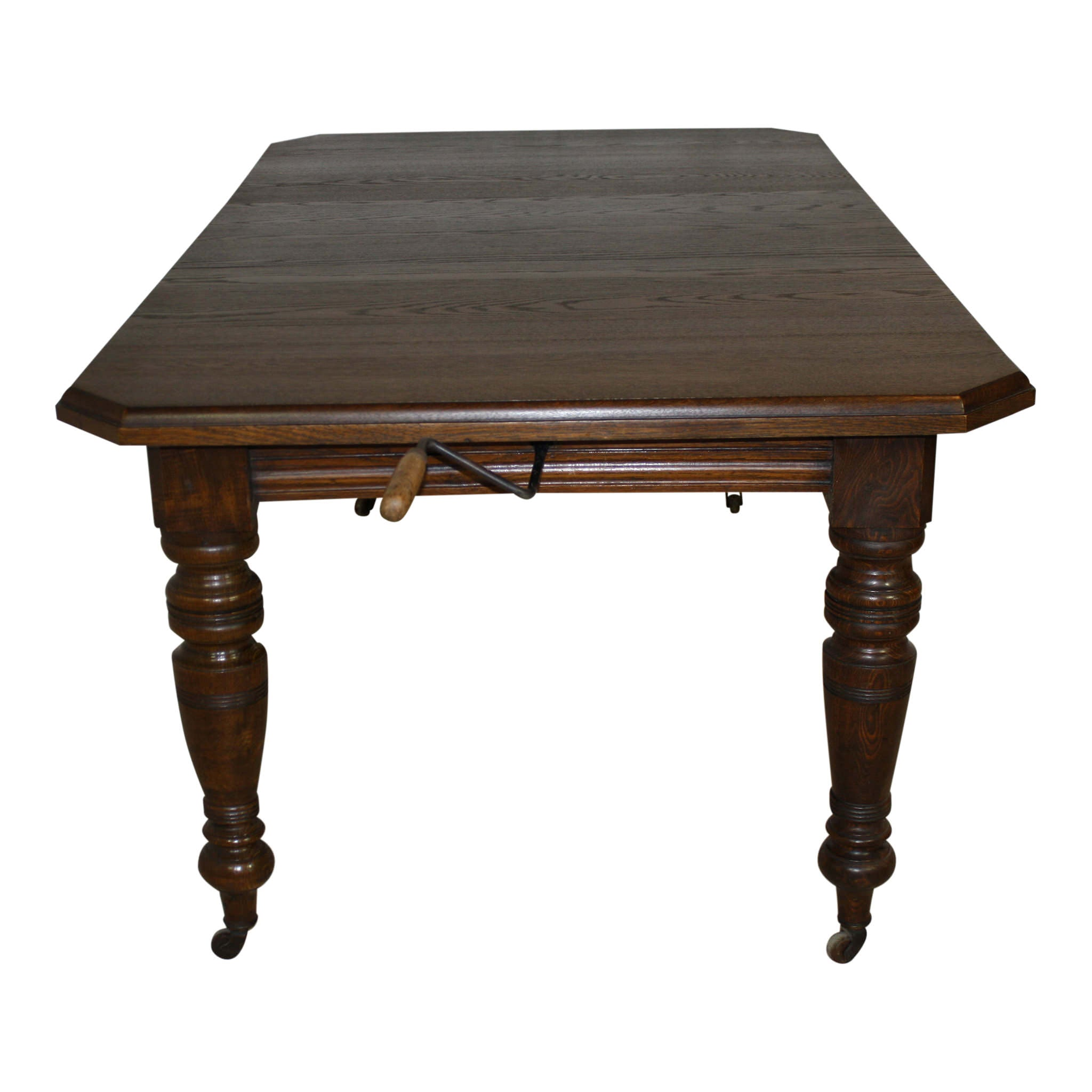English Edwardian Table with Crank and Leaf