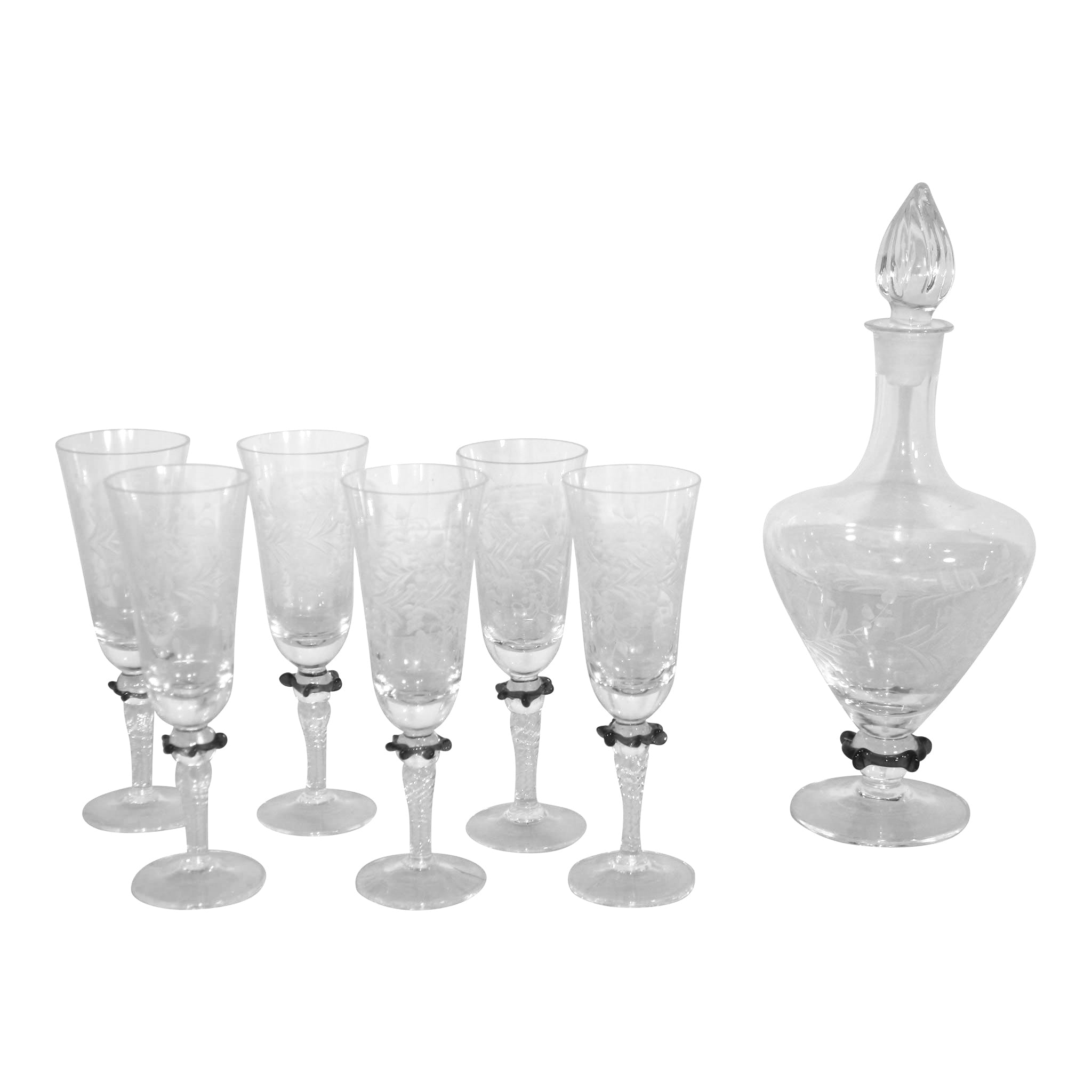Etched Decanter and Six Champagne Glasses