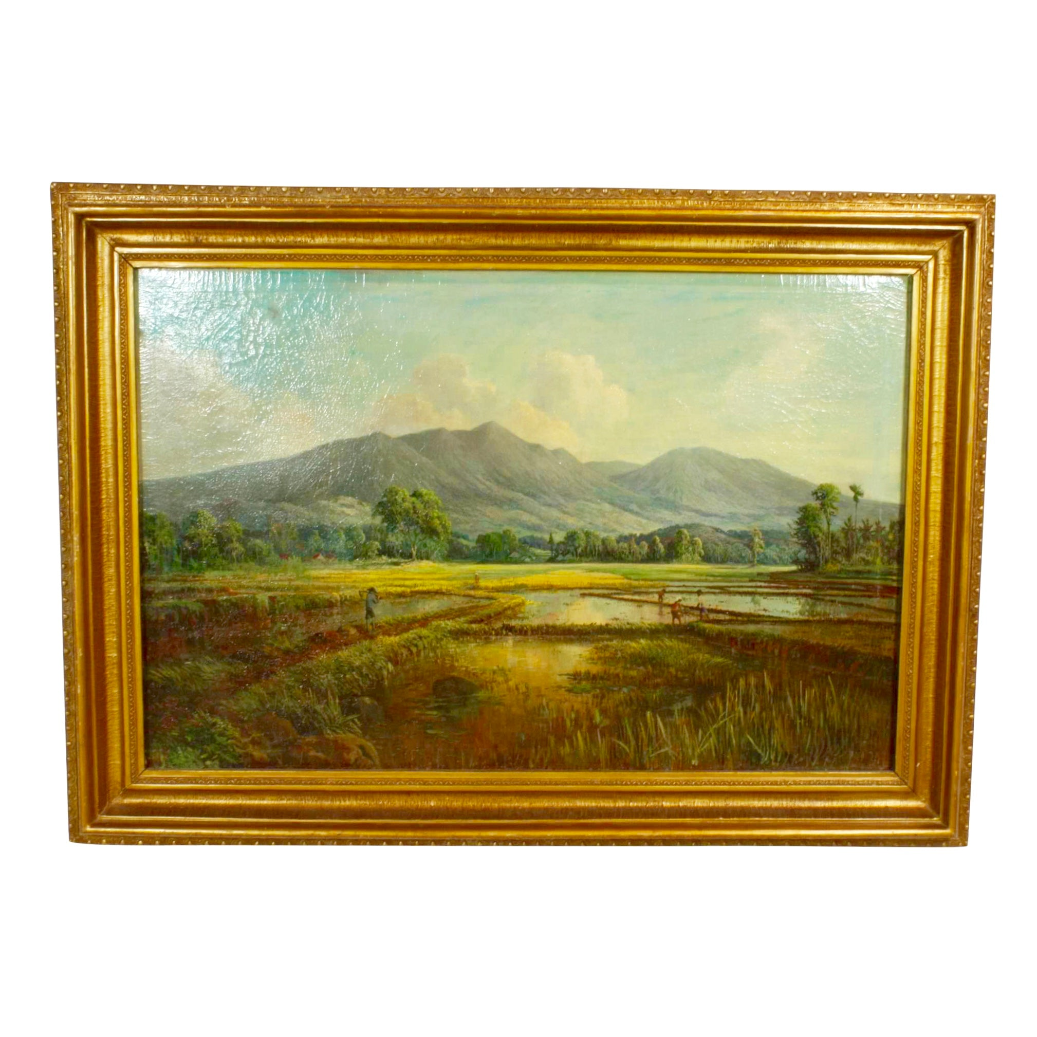 Mountains and Rice Paddies Oil Painting