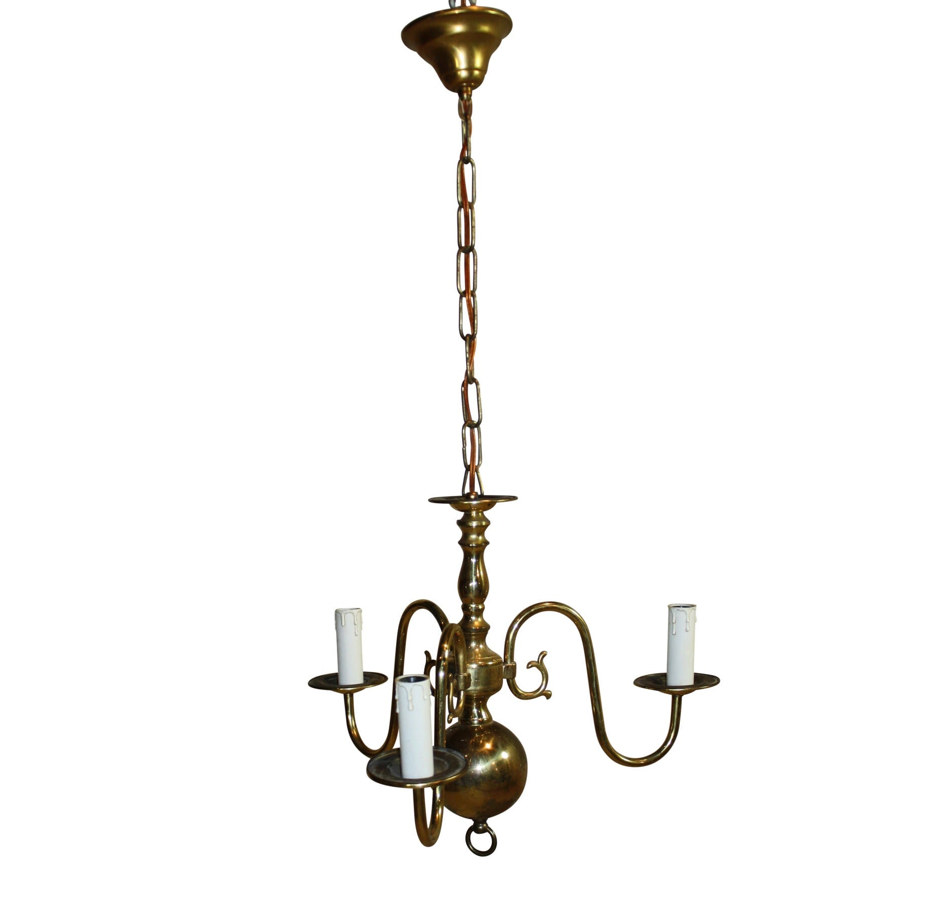 Dutch Three Arm Brass Chandelier