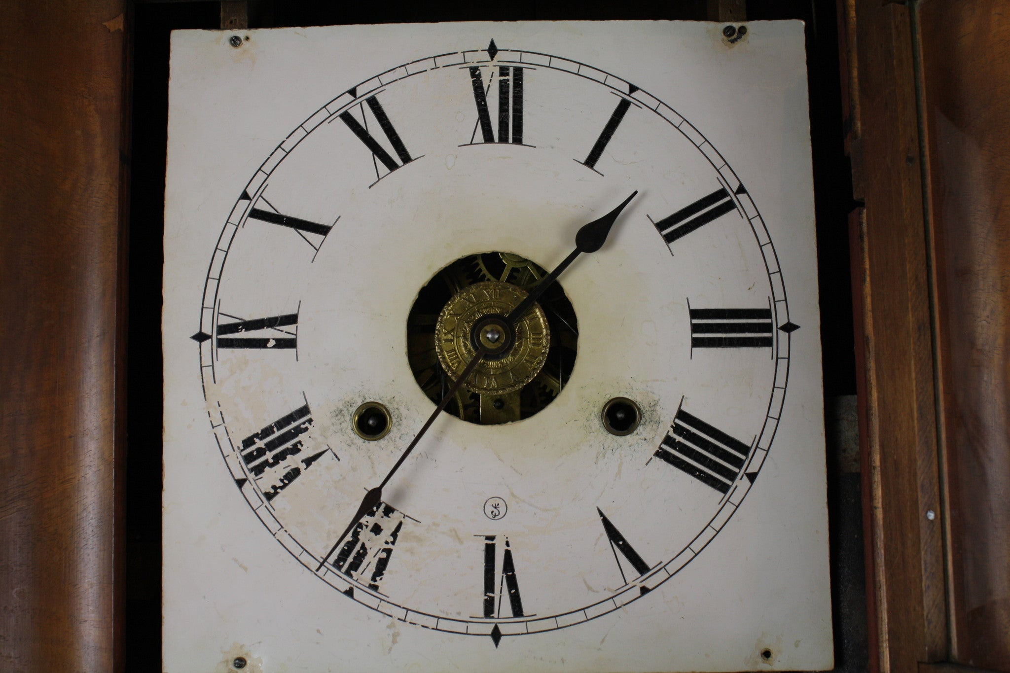 Wall Clock with Painted Glass