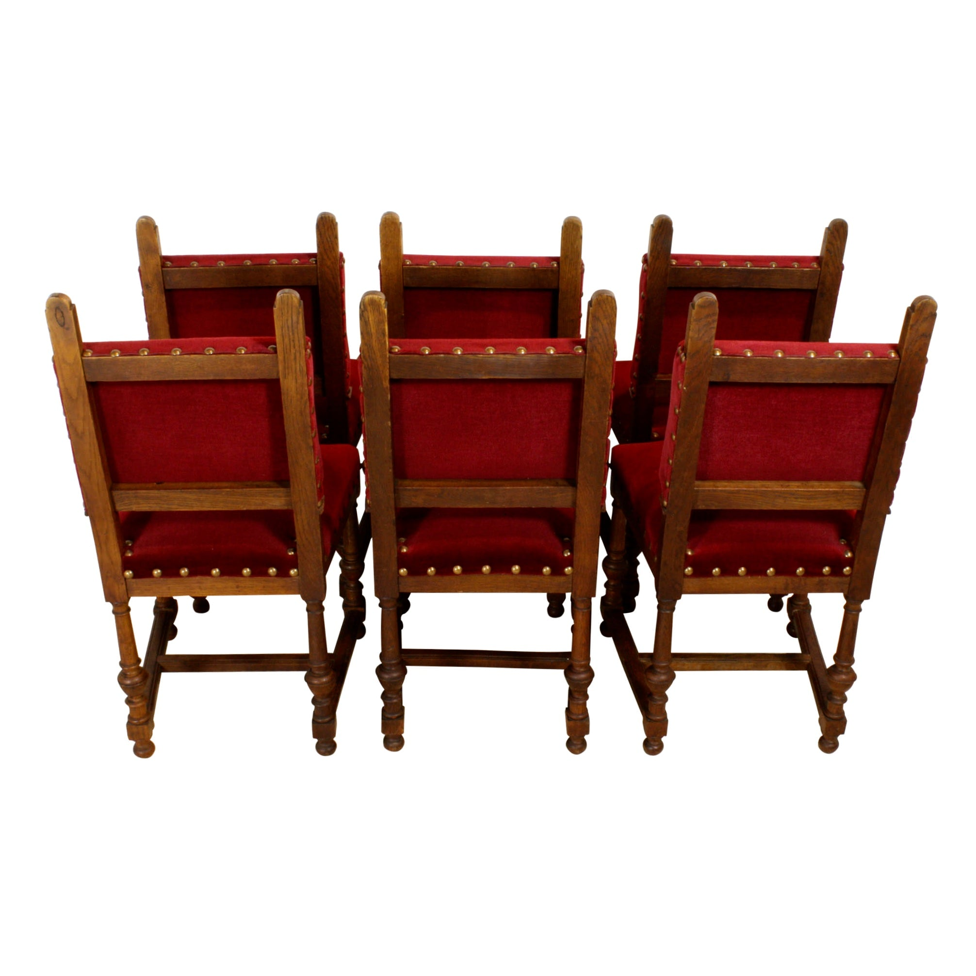 Carved Oak Chairs - Set of Six