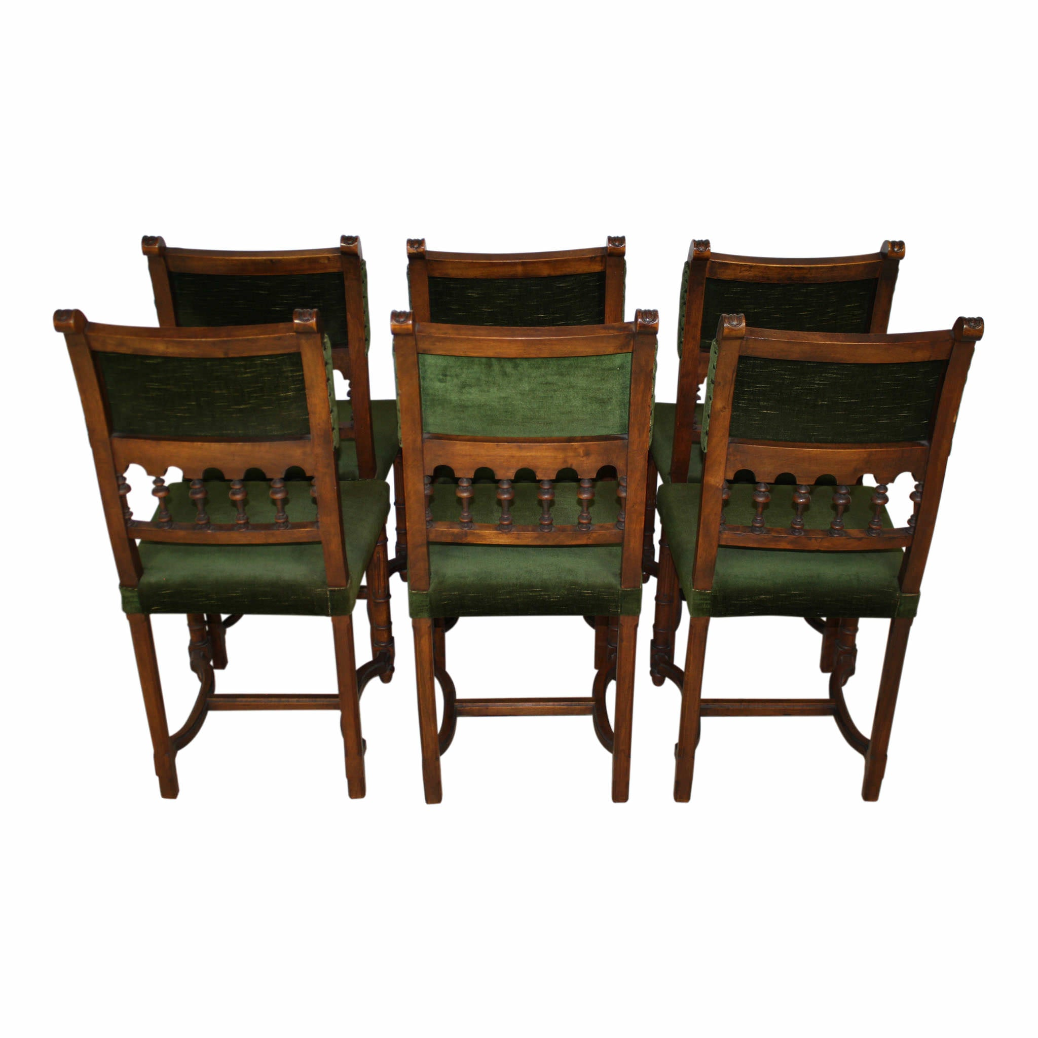 French Walnut Chairs/ Set of Six