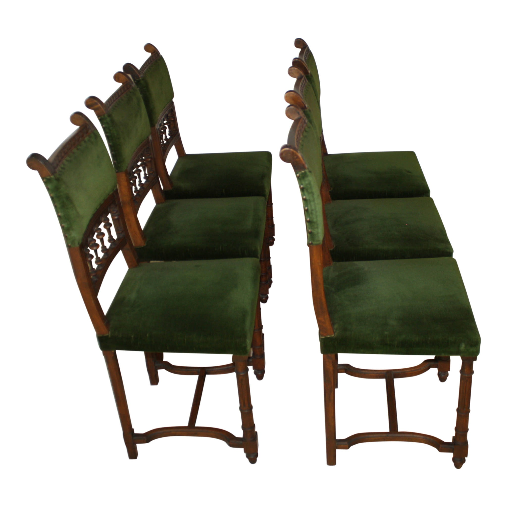 French Walnut Chairs - Set of Six