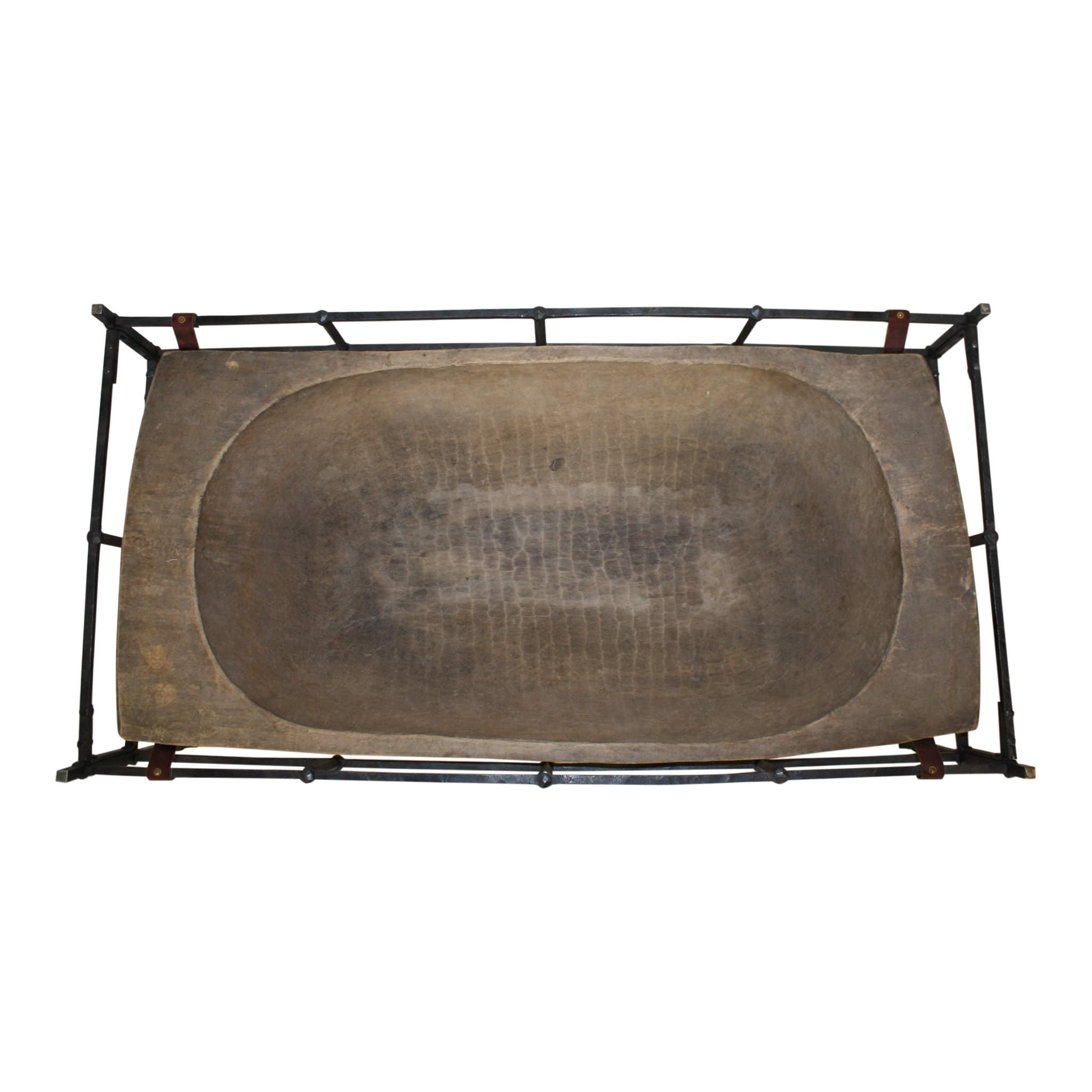 Dough Bowl Coffee Table with Hand Forged Frame