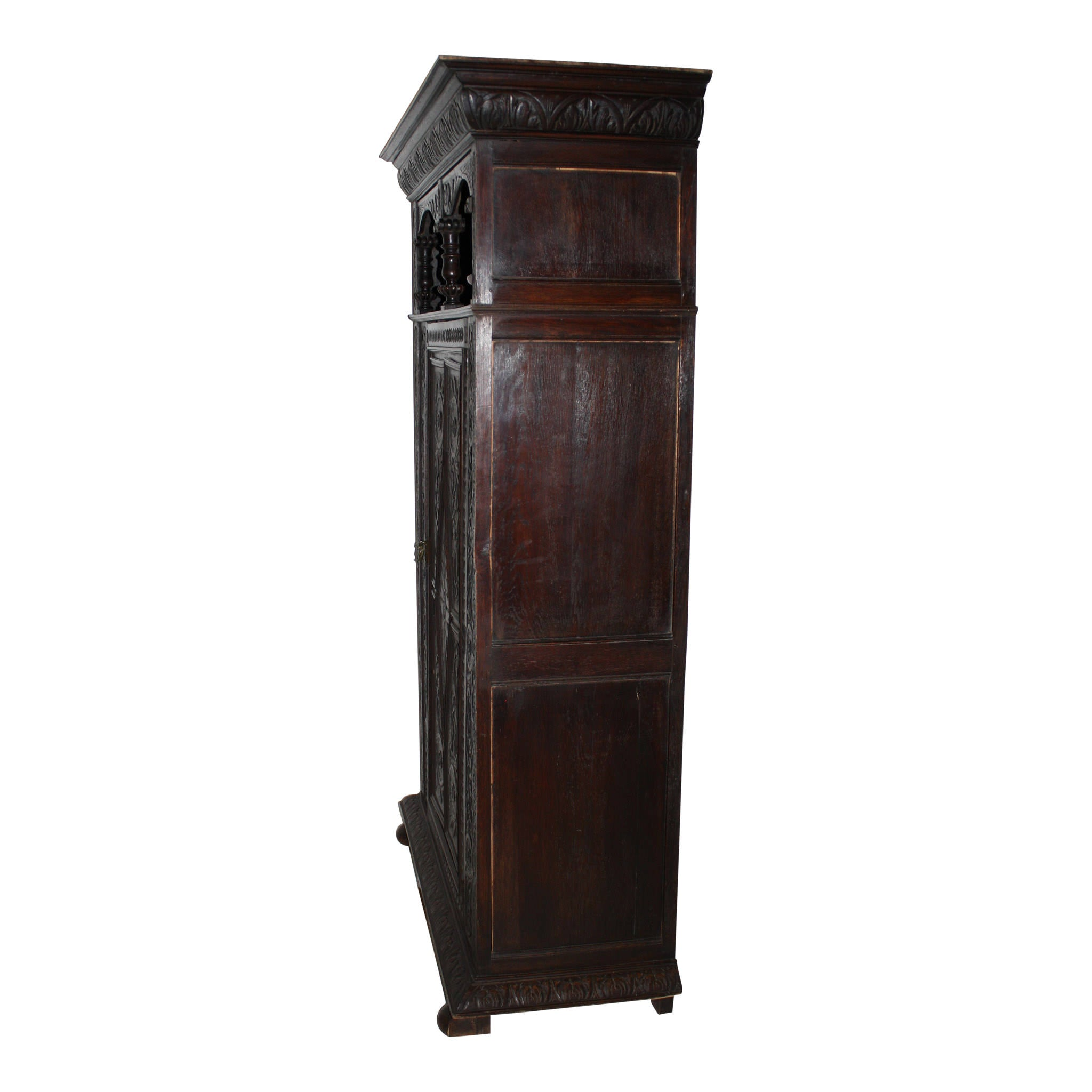 Carved Oak Armoire Cabinet